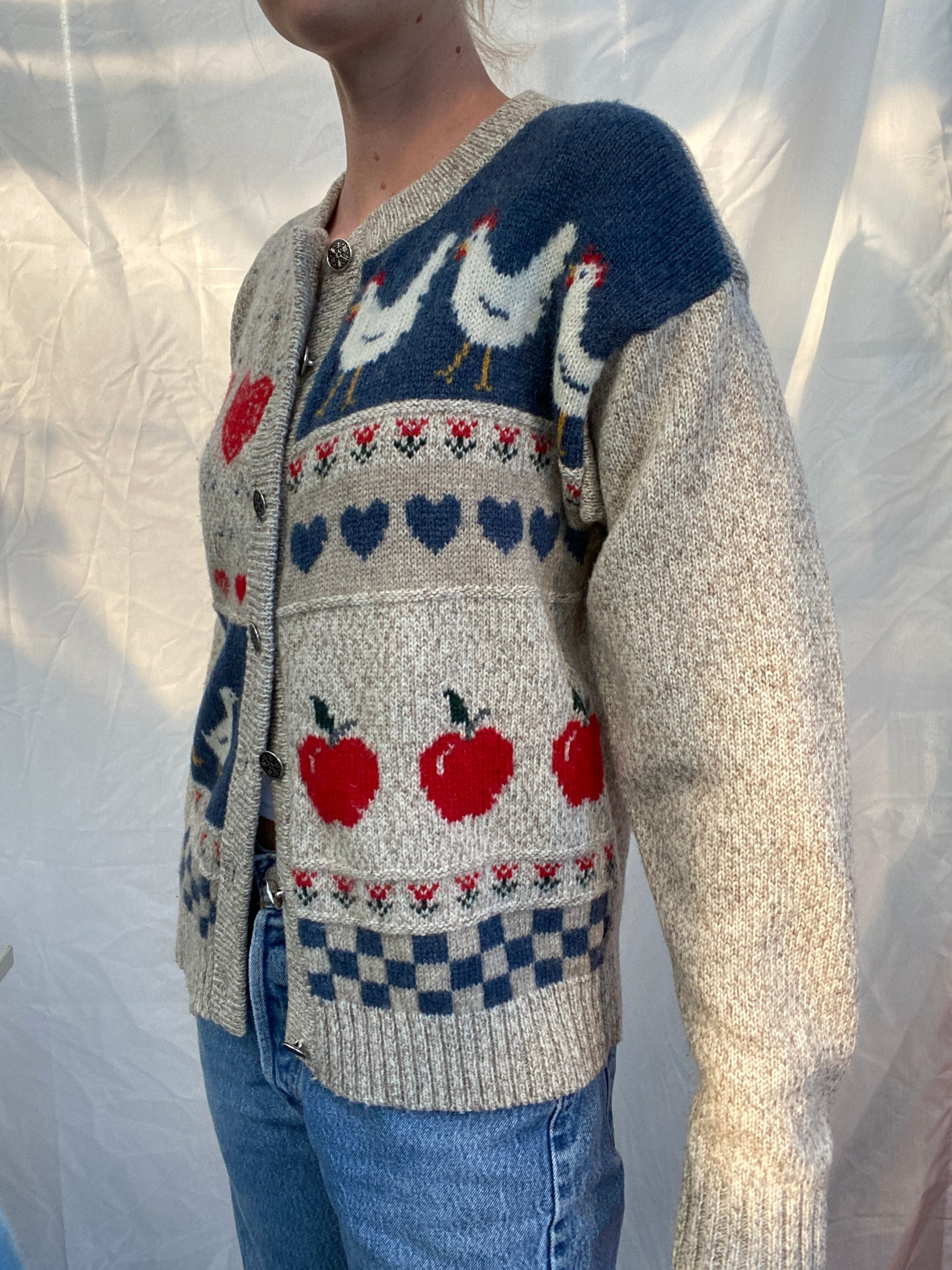 Heather Gray Eddie Bauer Cardigan With Farm Animal Print