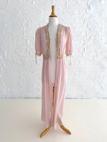 Dusty Pink Chiffon Robe with Cream Lace Detail