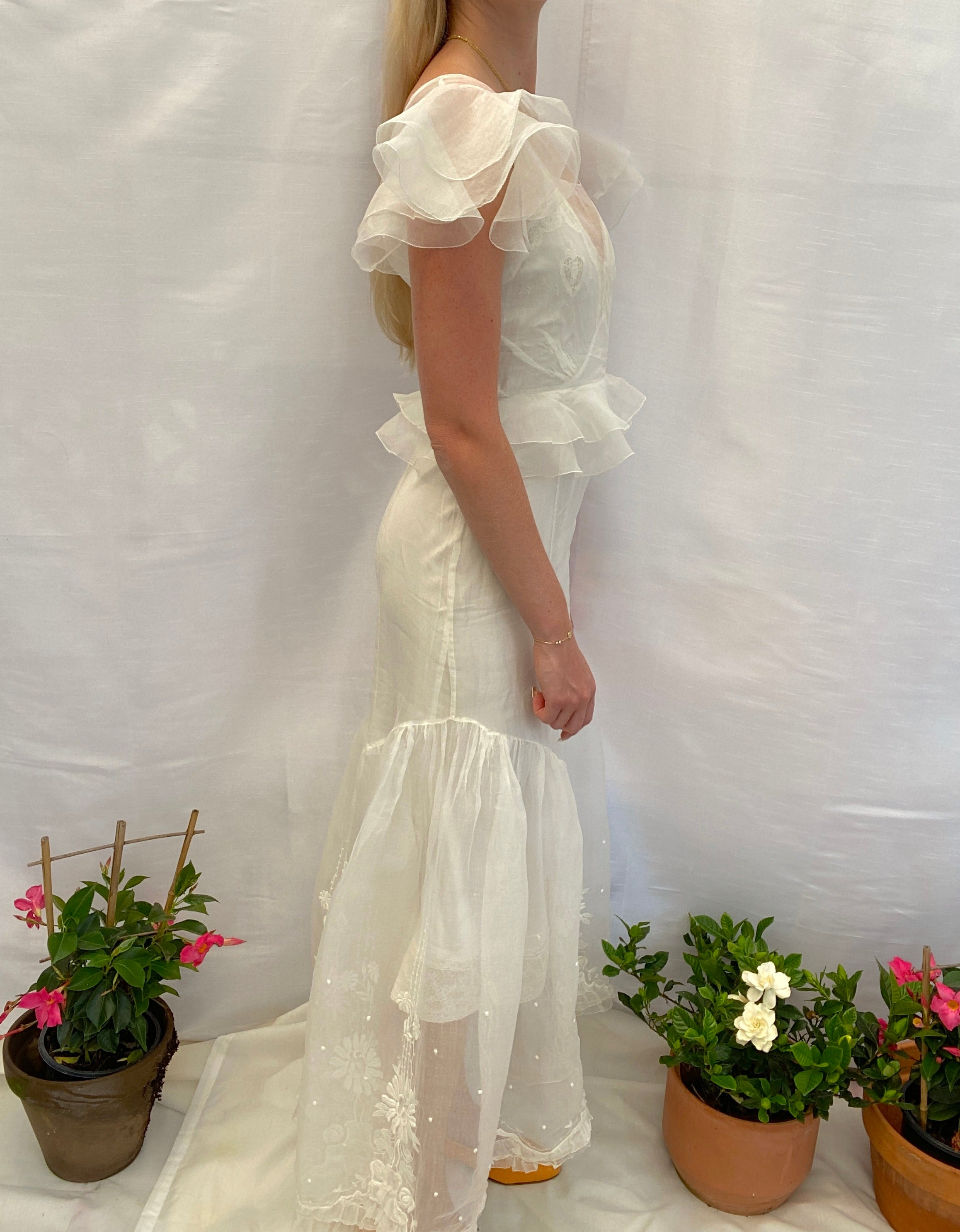 1930's White Organza Dress with Floral Embroidery