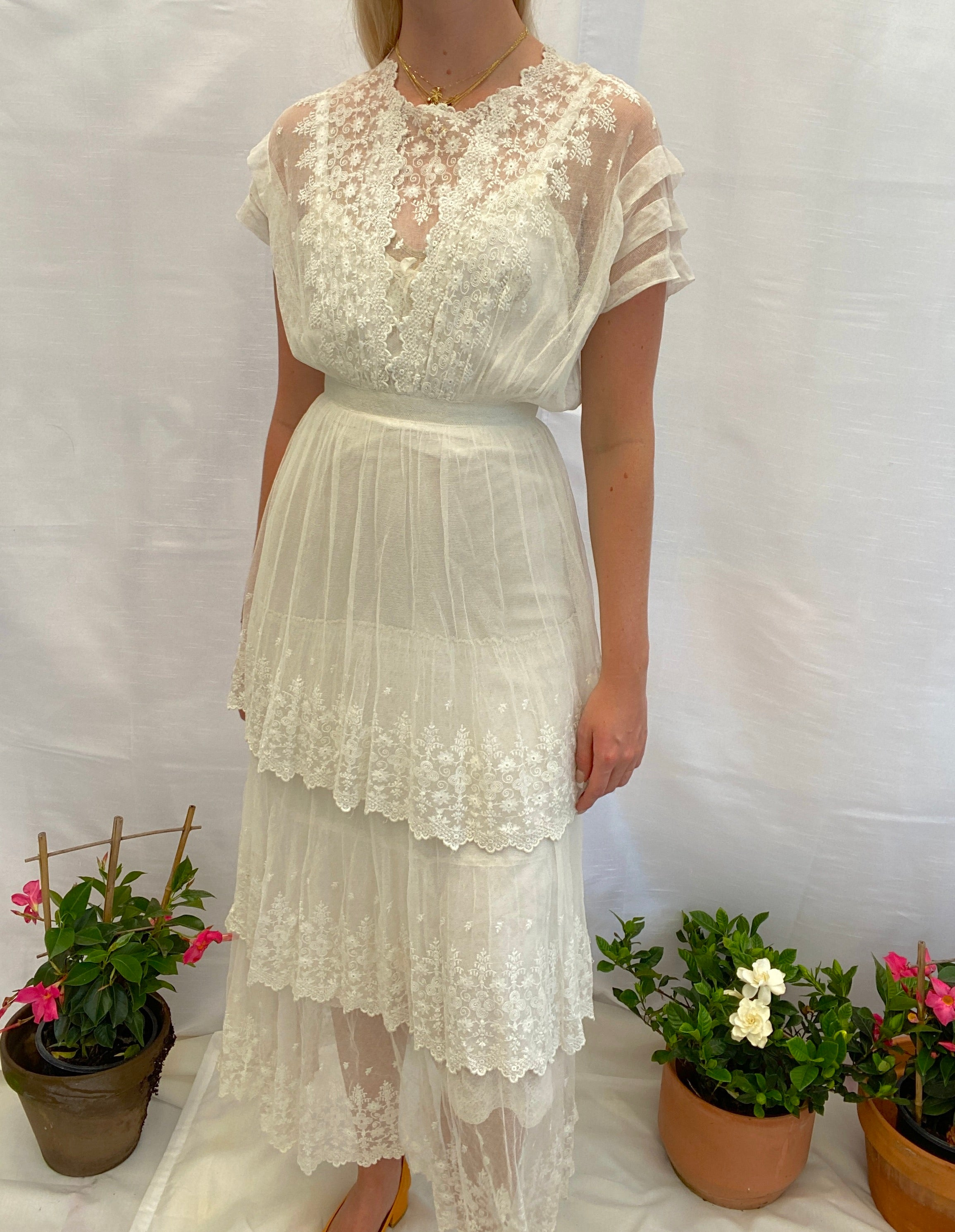 White Victorian Cotton Gown With Embroidered net
