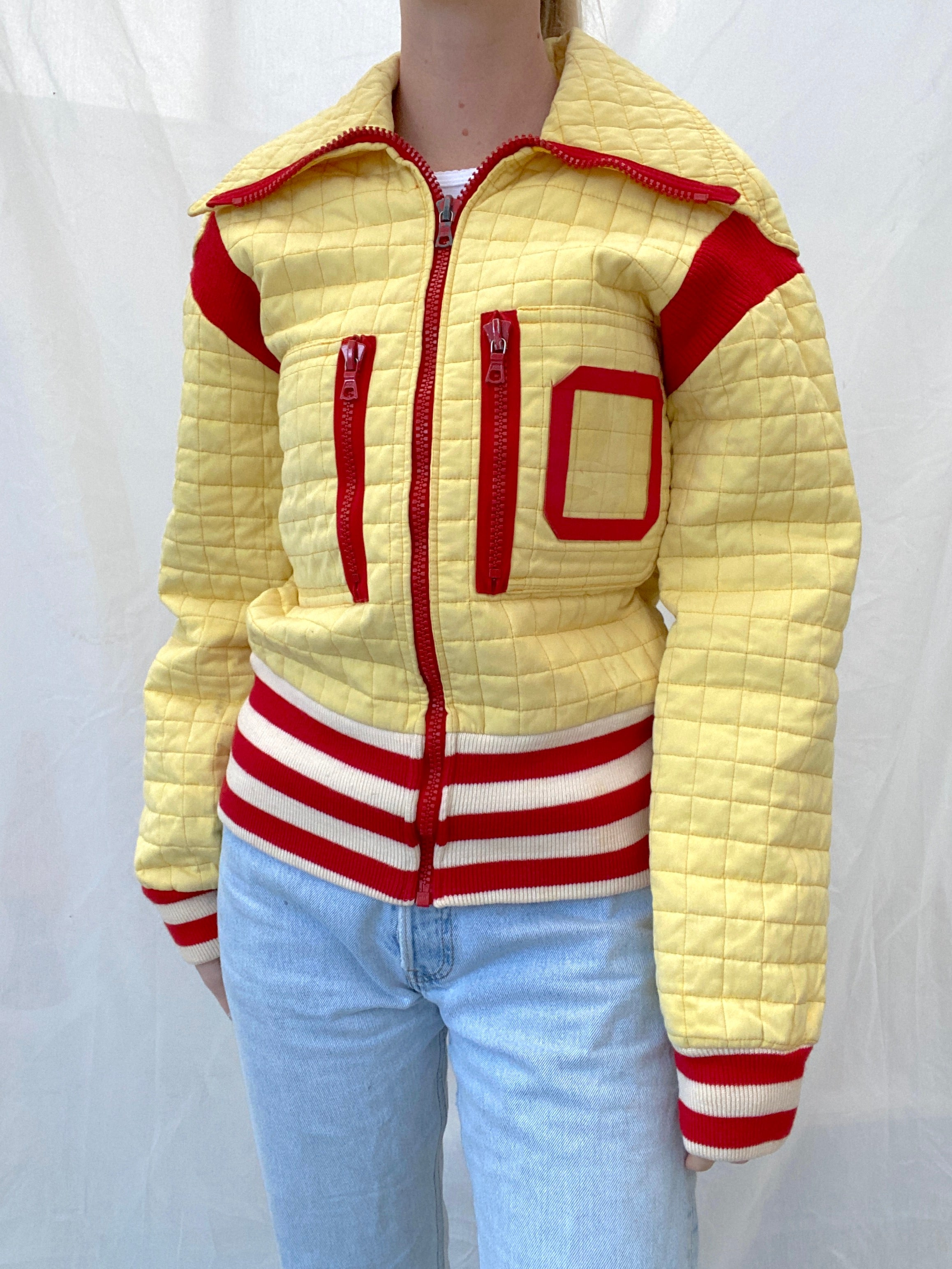 Finnish 70's Yellow Quilted Bomber Jacket