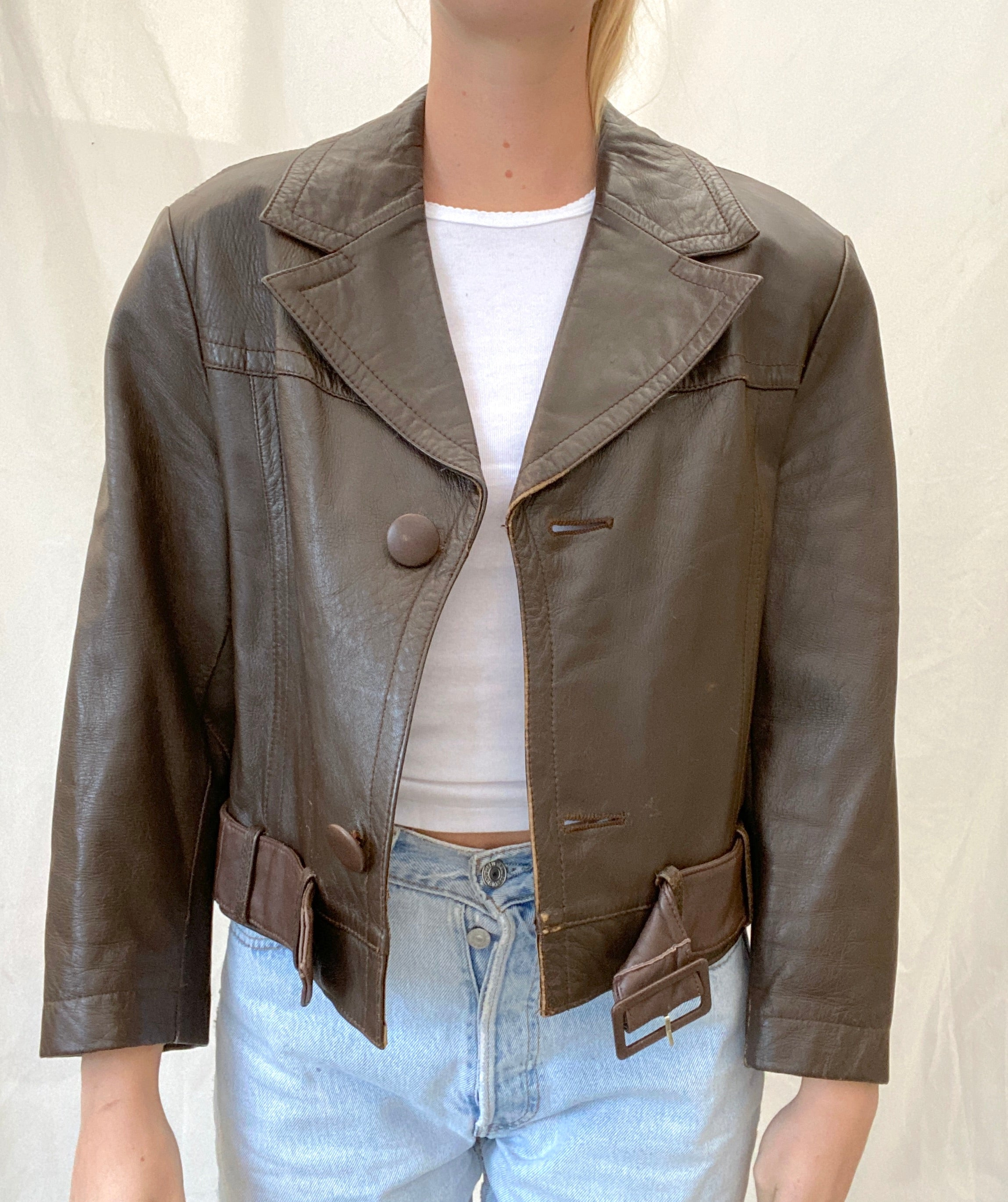 70's Chocolate Brown Cropped Leather Jacket