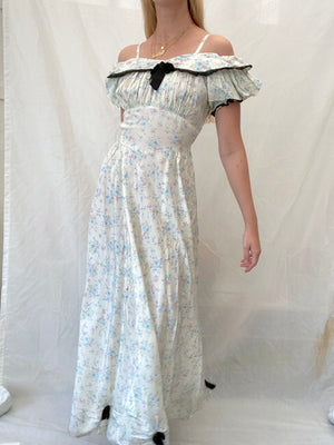 1930's Floral Print Taffeta Dress with Black Trim and Bows