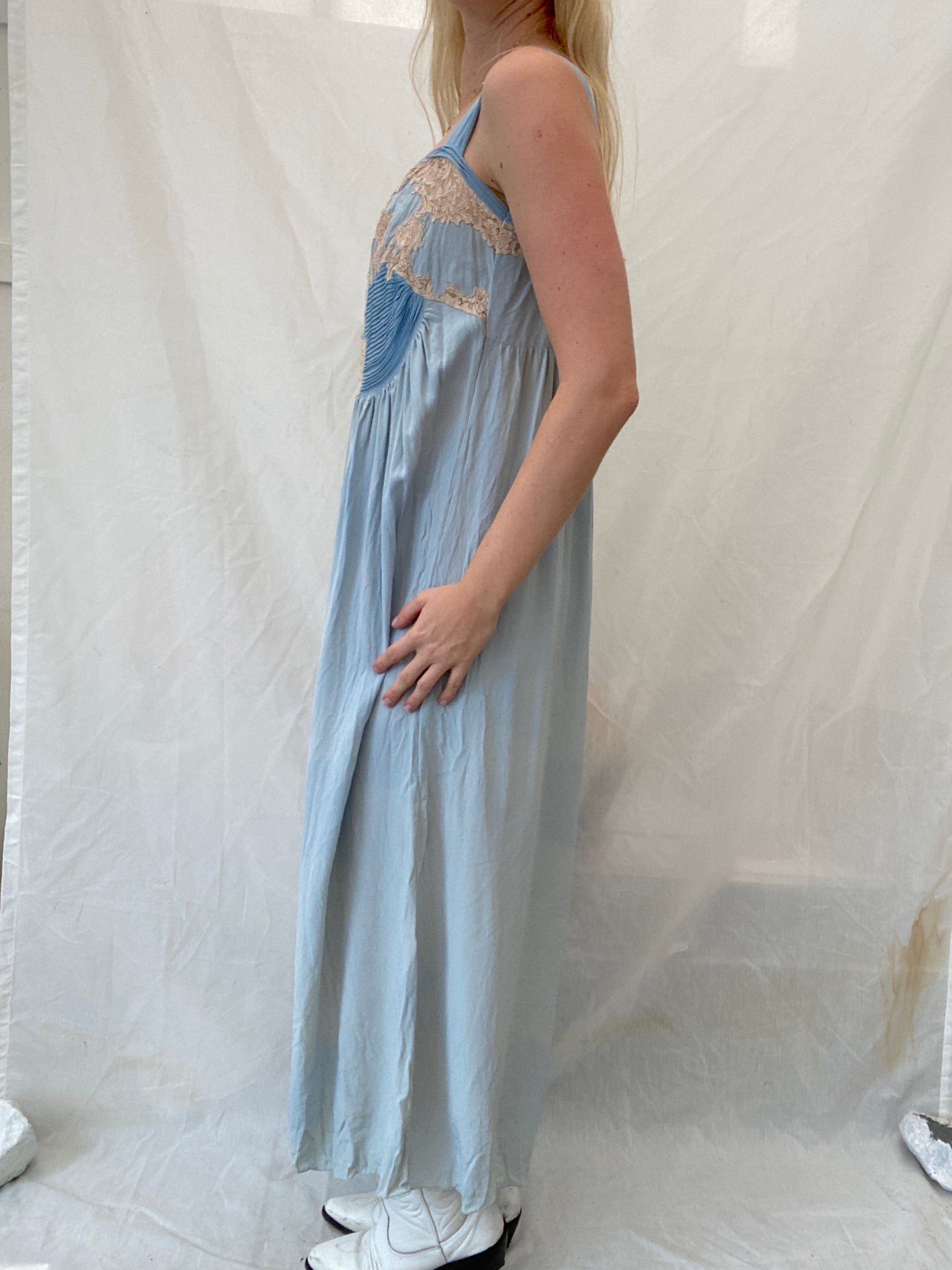 1920's Sky Blue Hand Stitched Slip with Cream Lace