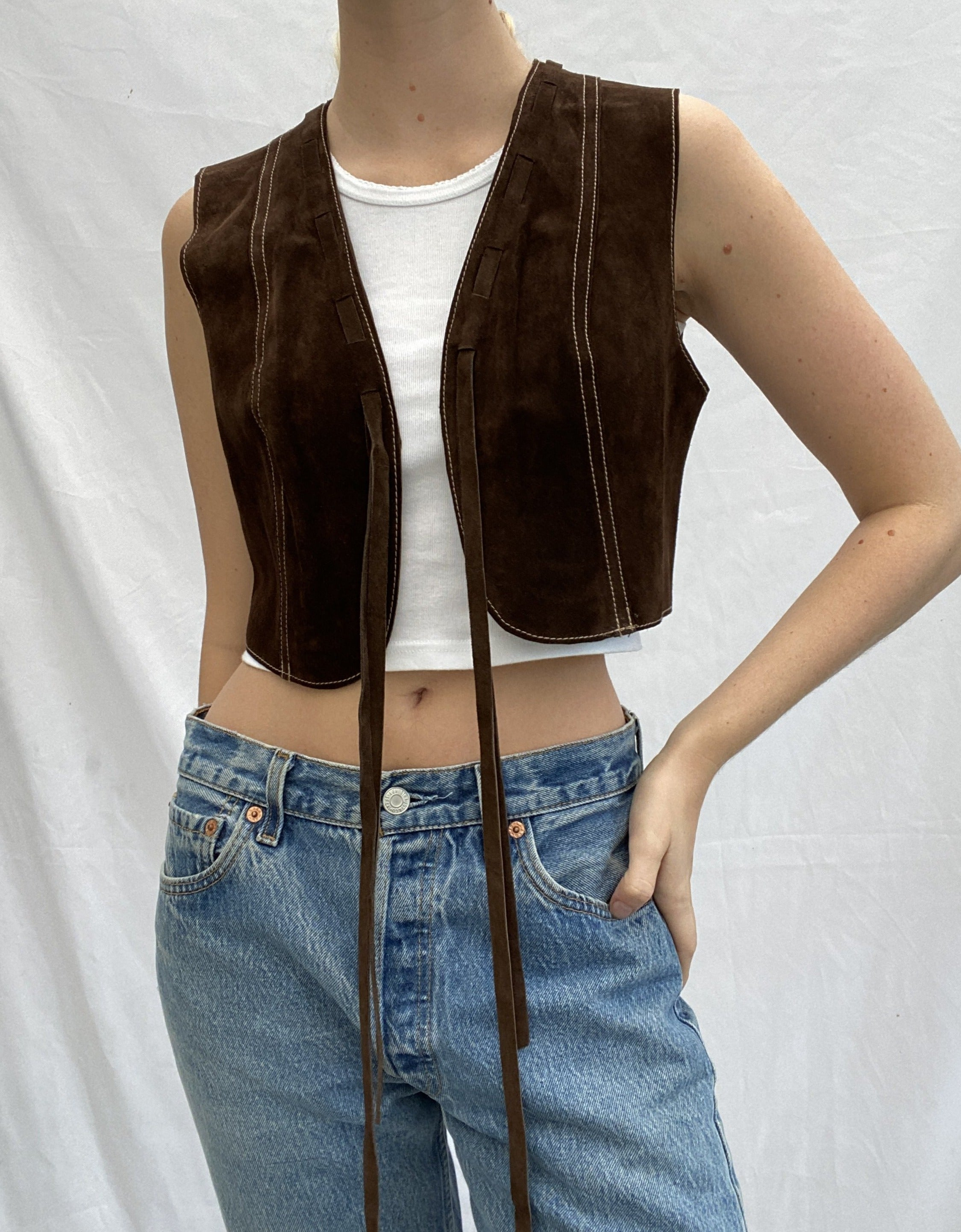 Brown Cropped Suede Vest