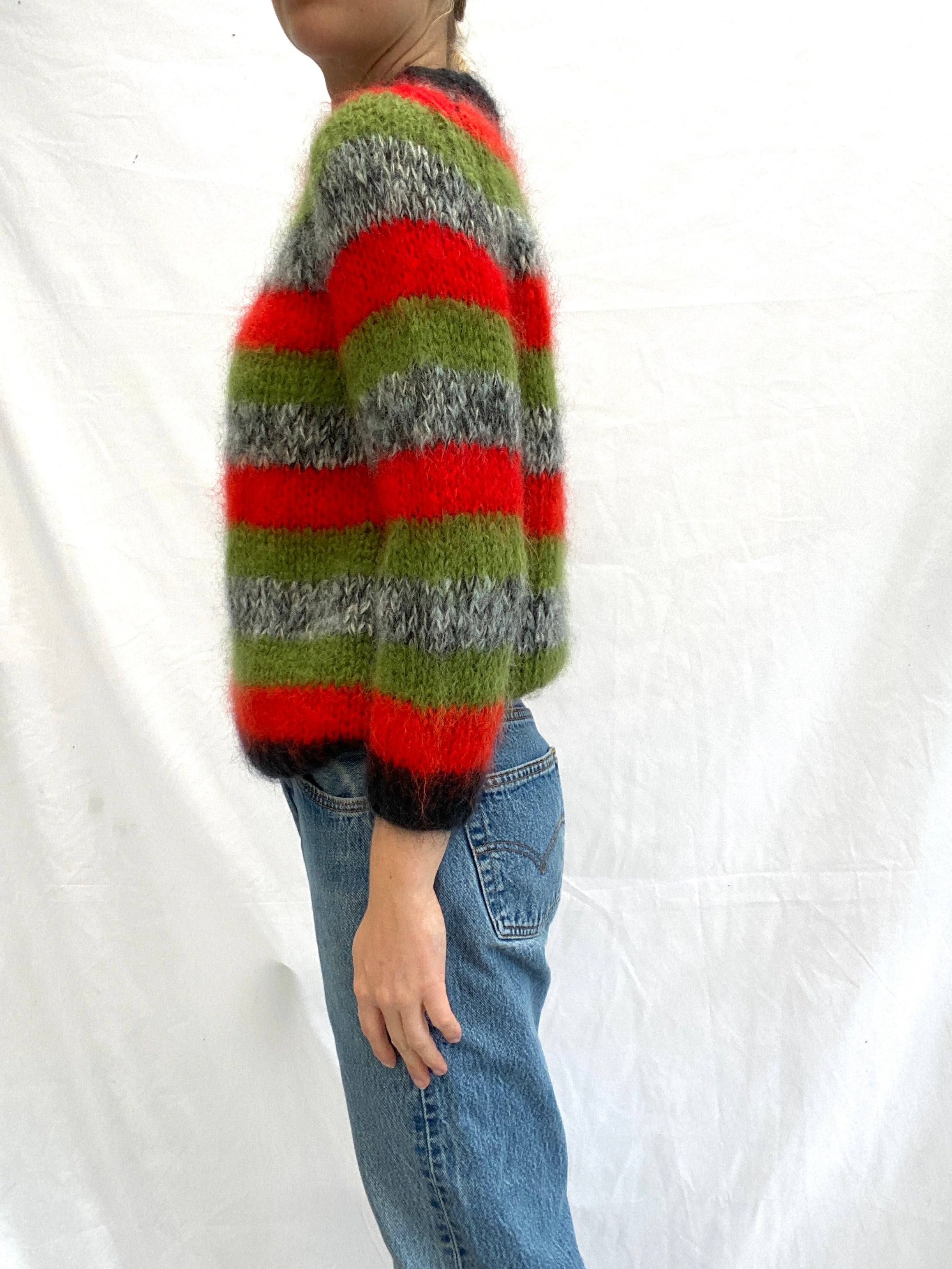 Orange Green and Grey Striped Sweater