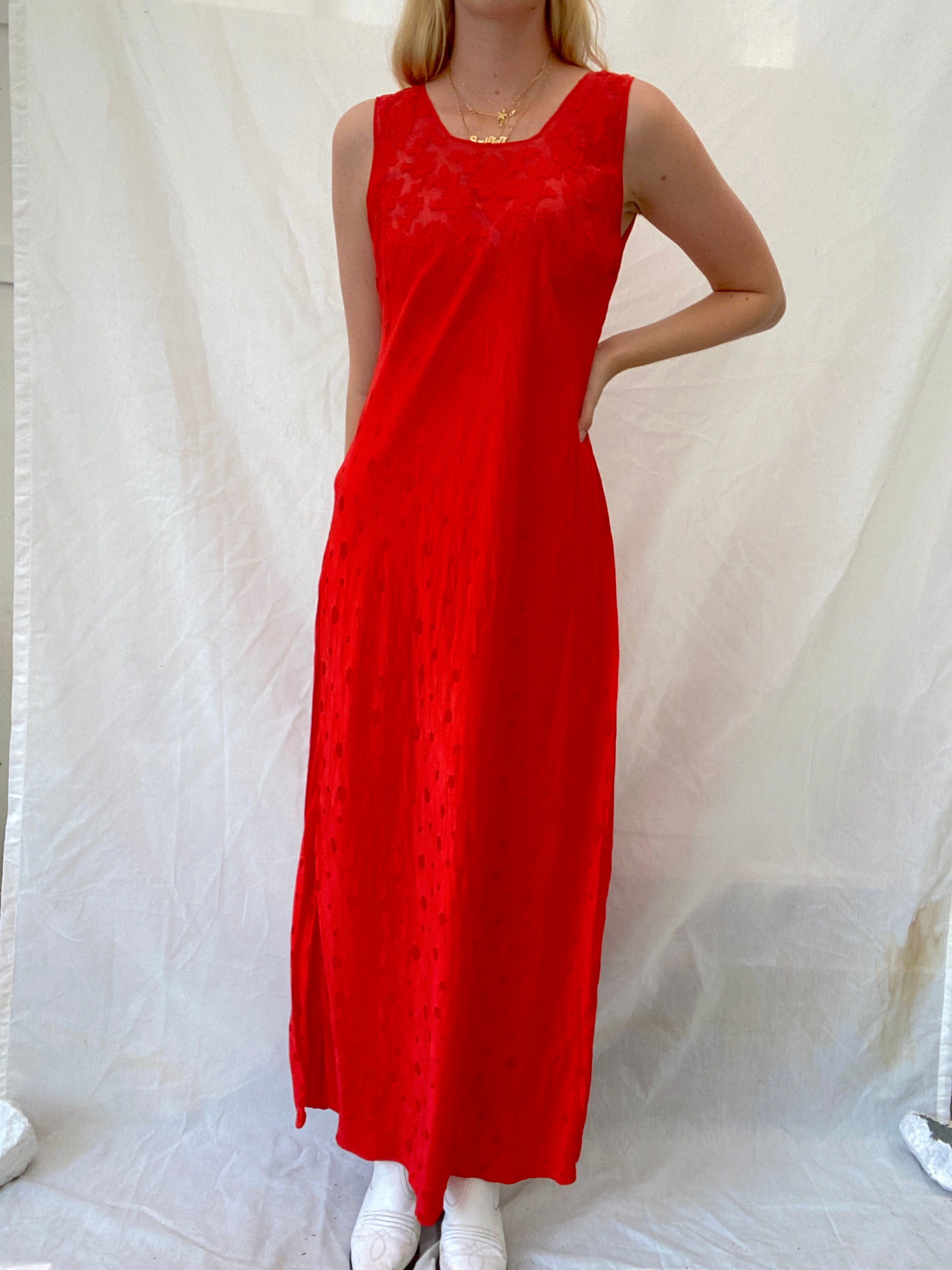 Hand Dyed Cherry Red Printed Silk Dress