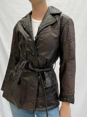 Dark Brown 70's Leather Jacket with Tie