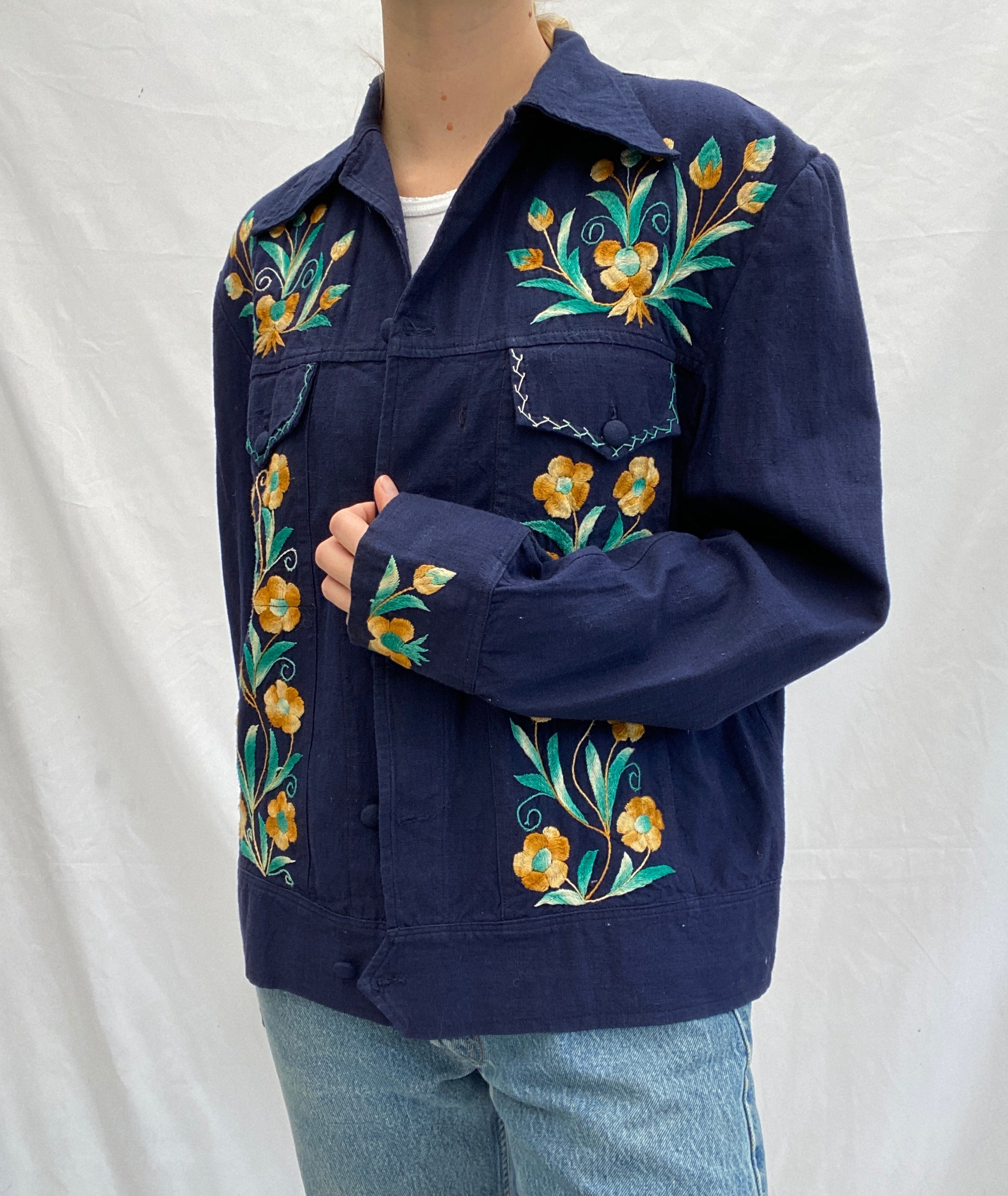 Blue Jacket with Turquoise and Brown Flower Embroidery