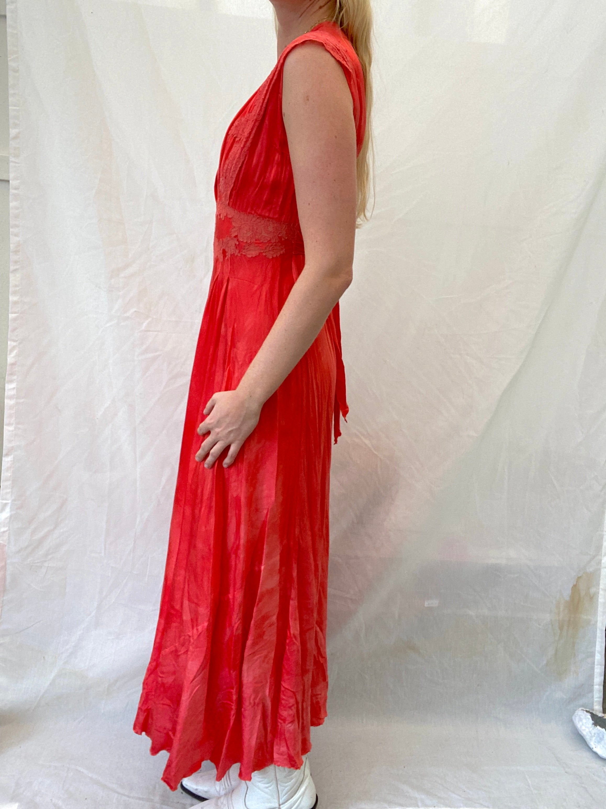 Hand Dyed Red 1930's Silk Dress