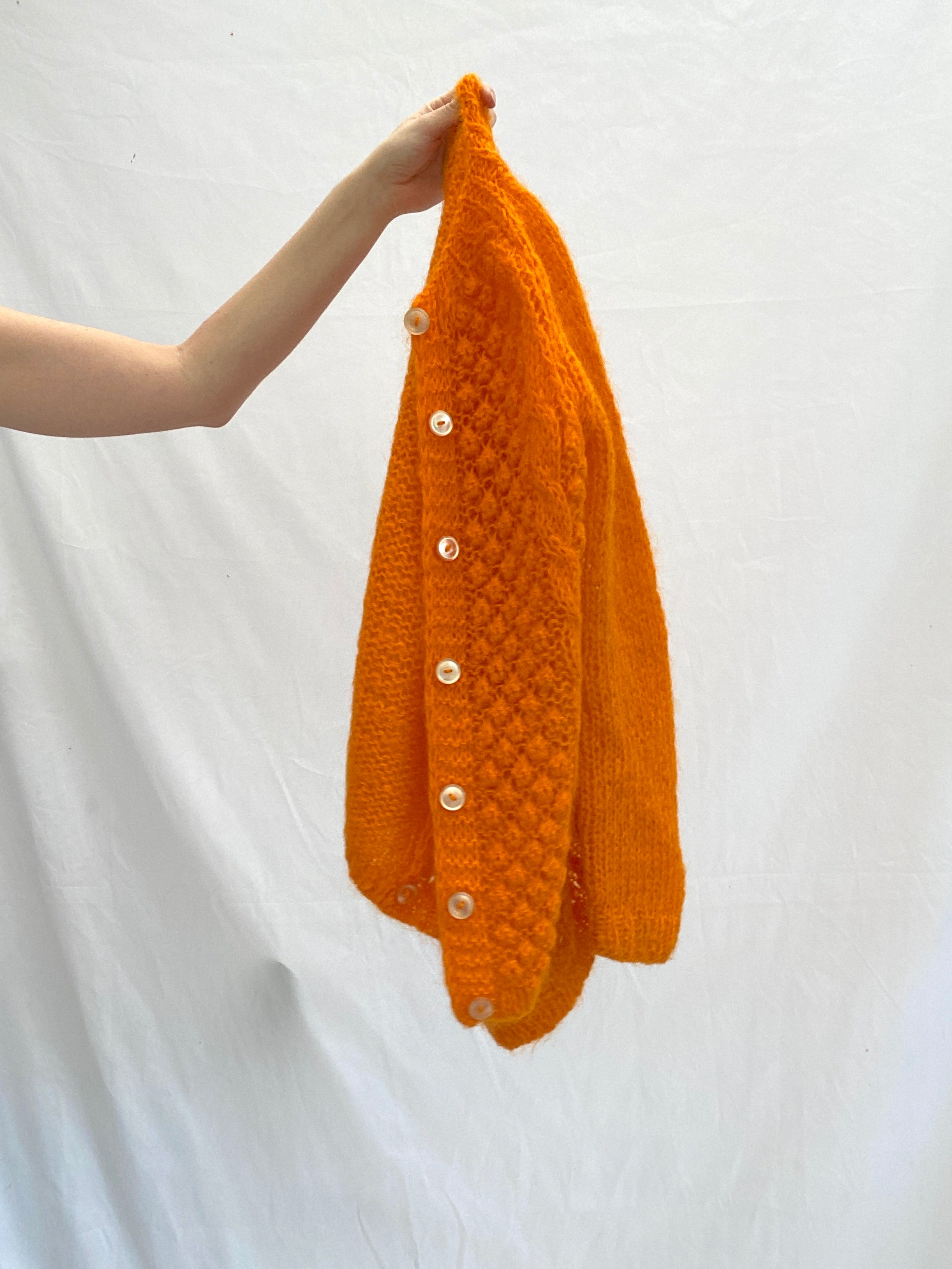 Bright Orange Knit Cardigan