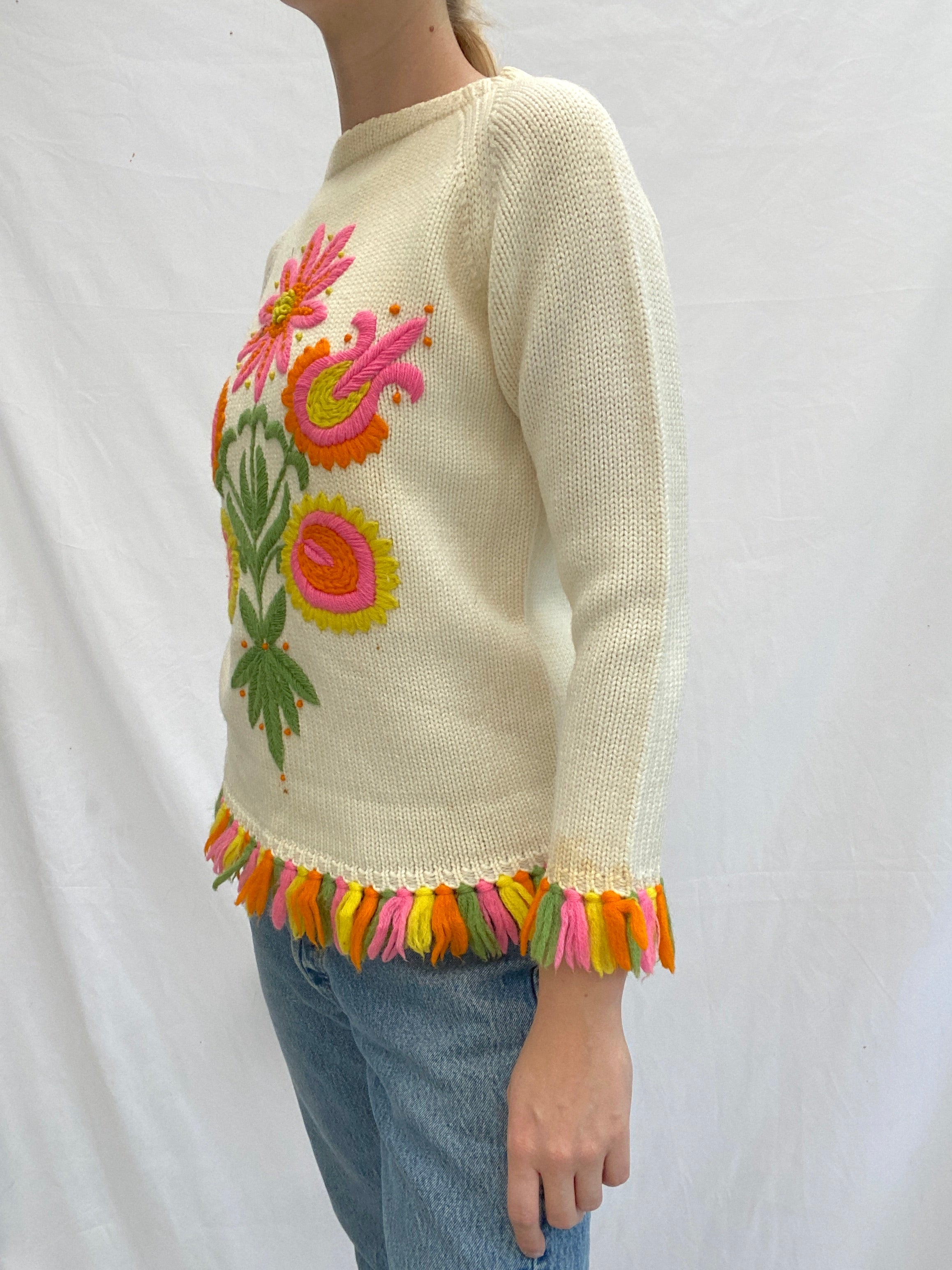 Cream Knit Sweater With Neon Flowers and Fringe