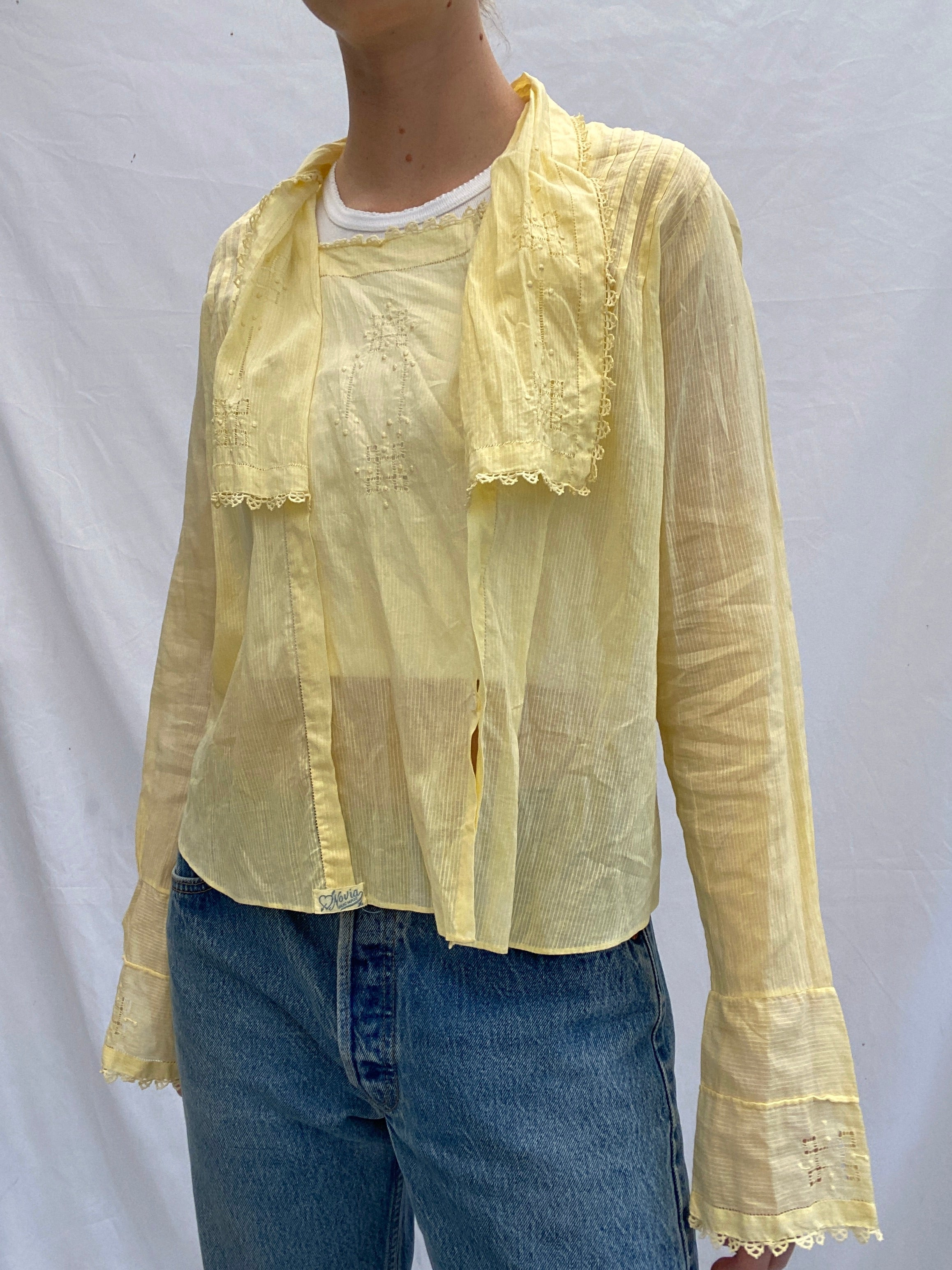 Hand Dyed Canary Yellow Victorian Top