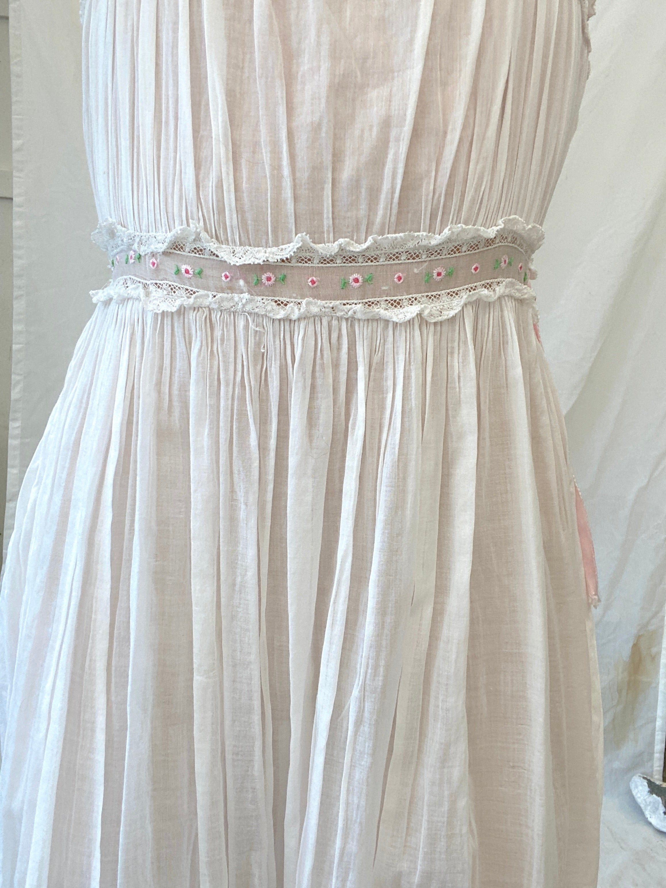 White Cotton Dress with Floral Embroidery