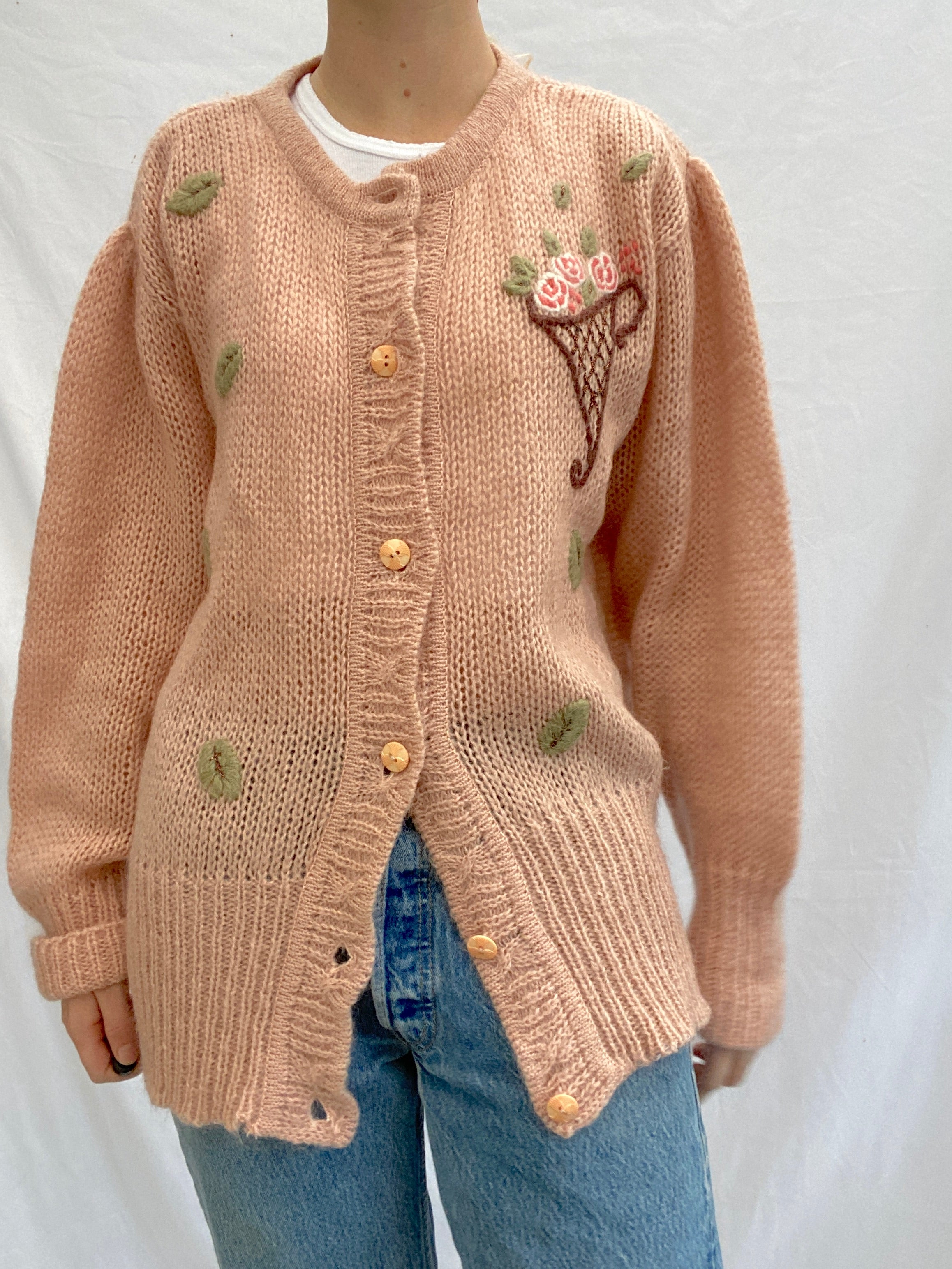 Mauve Pink Knit Cardigan With Bouquet Imagery