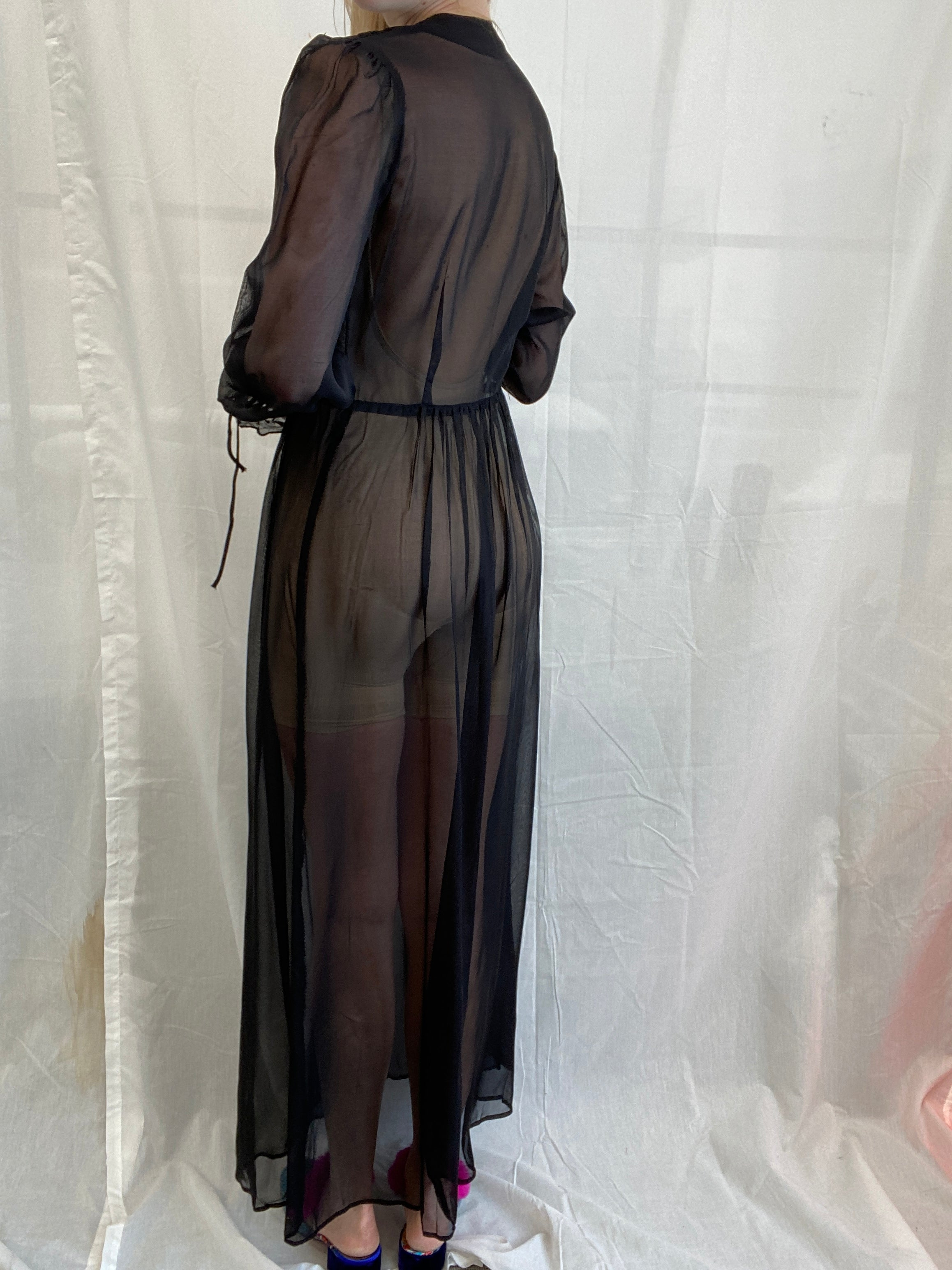 1930's Black Robe with Icy Blue Embroidery
