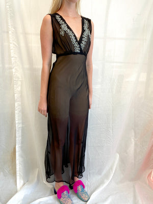 1930's Black Slip with Icy Blue Embroidery
