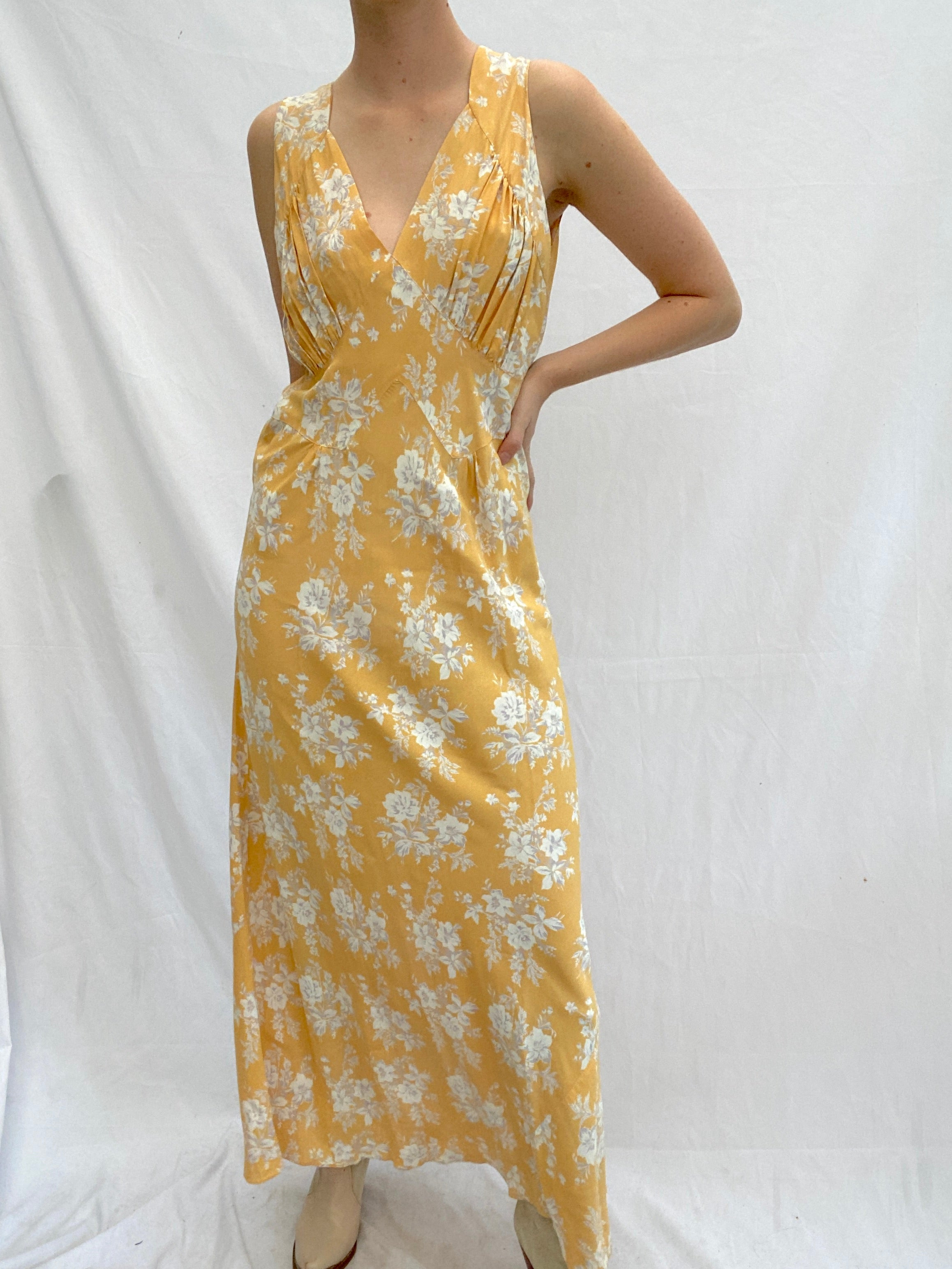 Autumn Yellow 1930's Slip with Grey Flowers