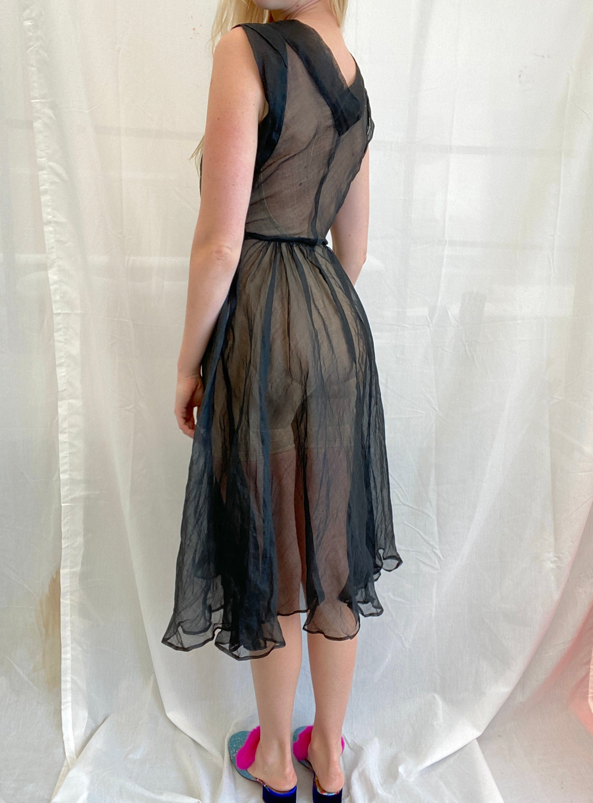 1940's Black Organza Sleeveless Dress