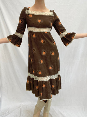 Long Sleeve Brown Floral Dress with White Lace