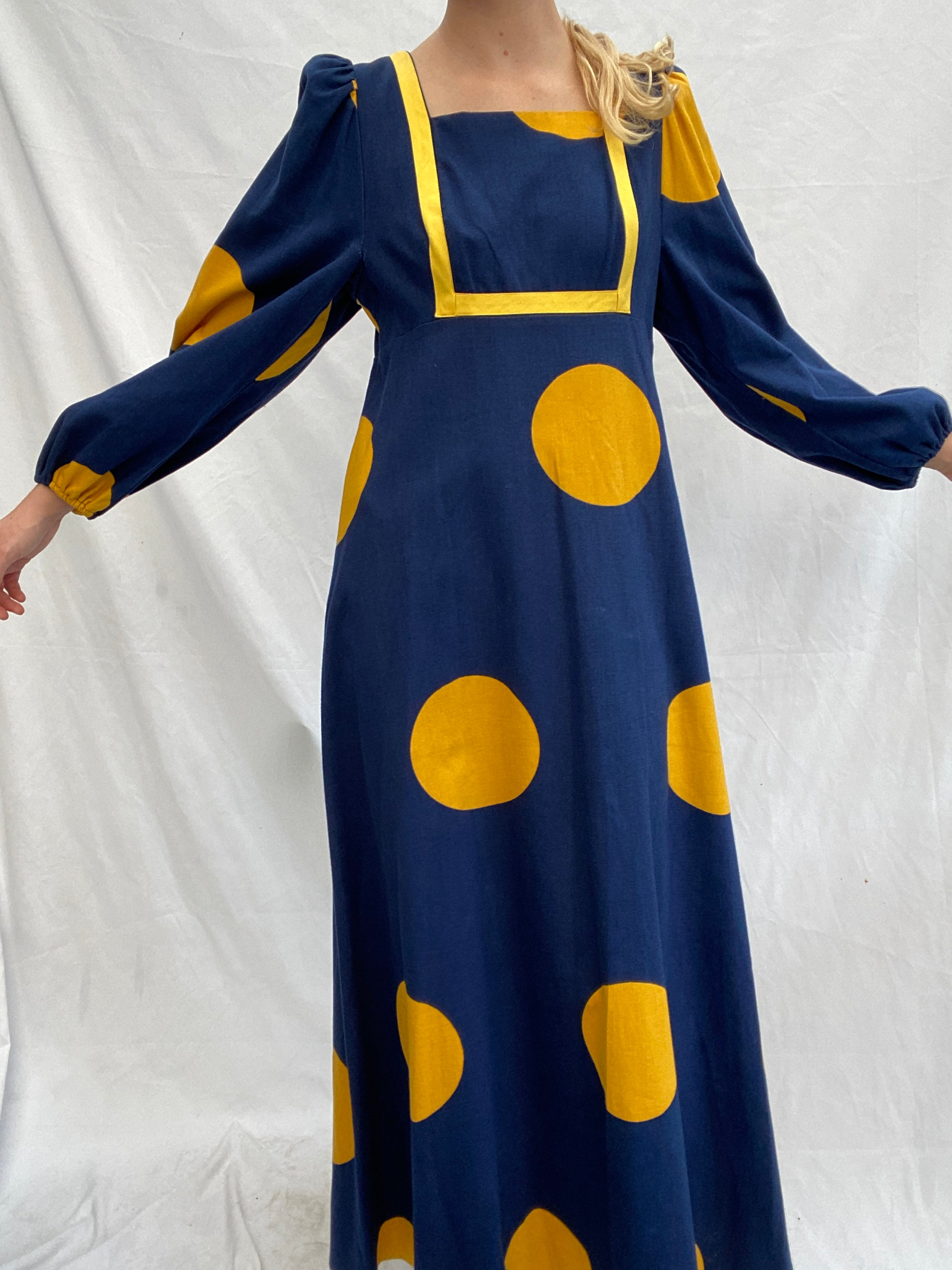 70's Long Sleeve Navy Dress with Yellow Circles