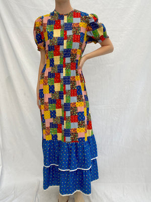 70's Patchwork puff sleeve dress