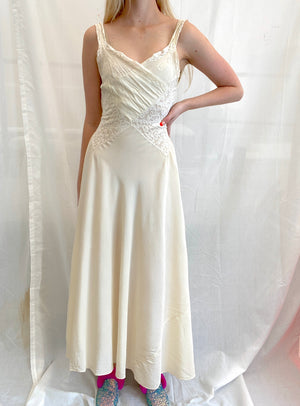 1940's French Cream Silk Slip with Delicate Floral Embroidery and White Lace