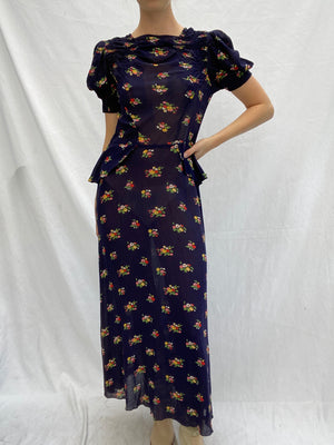 1940's Navy Floral Dress with Peplum