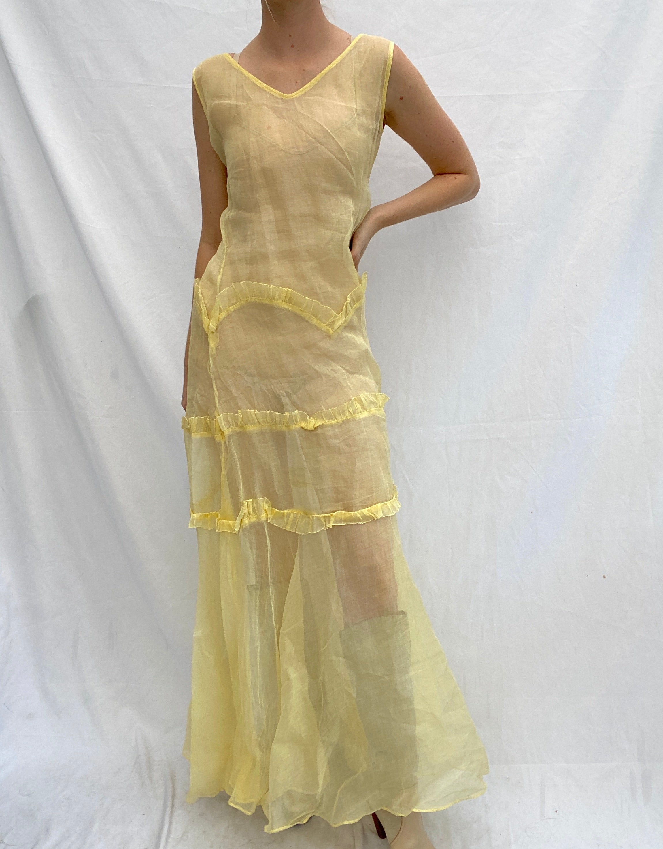 Hand Dyed Canary Yellow 1930's Organza Sleeveless Dress