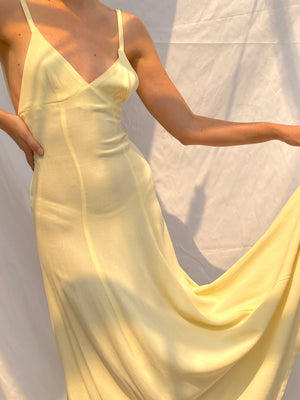 Ossie Clark Butter Yellow Crepe Spaghetti Strap Dress
