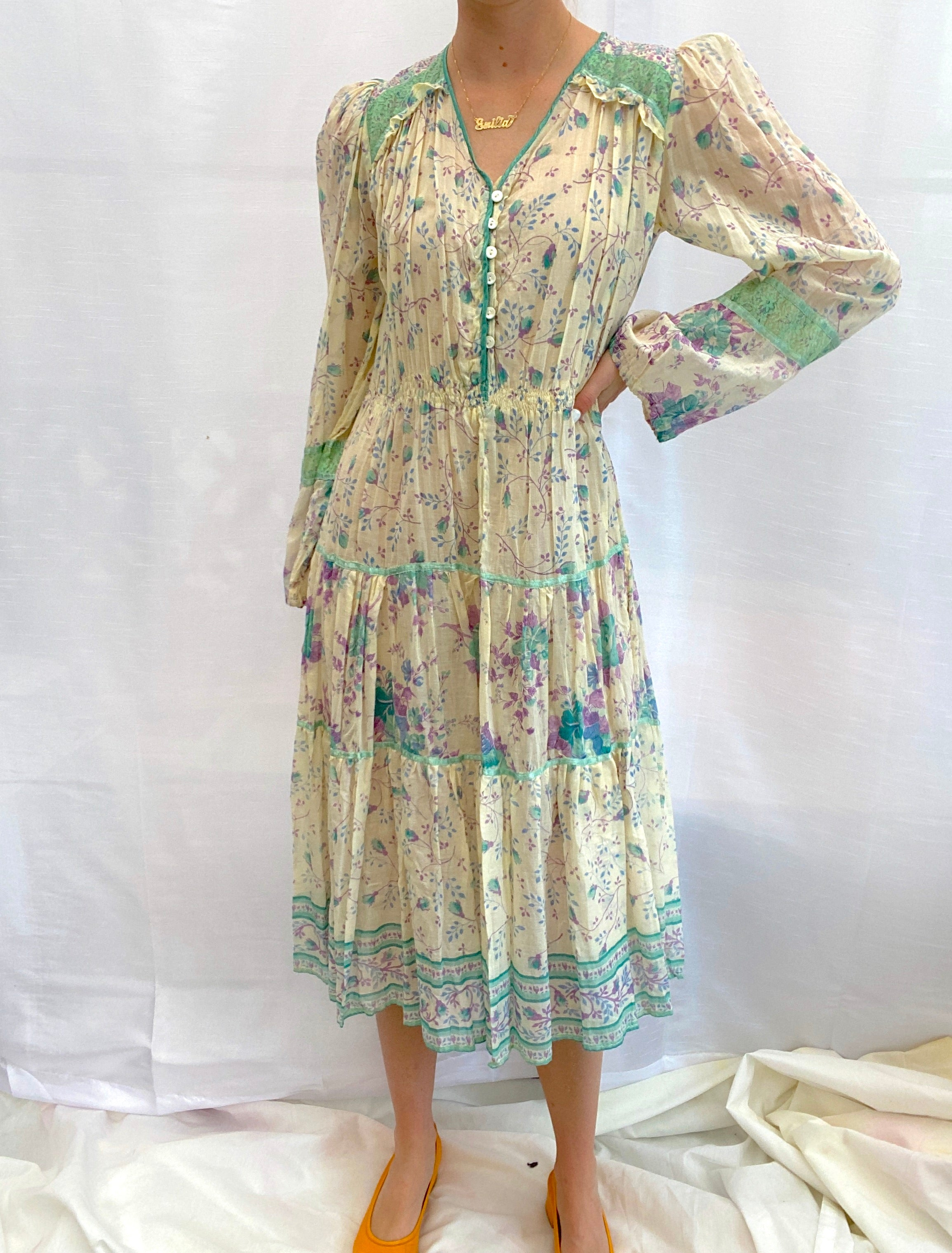 1970's Printed Cotton Dress