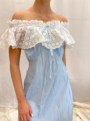 1940's Blue Cotton Dress with White Eyelet Ruffle