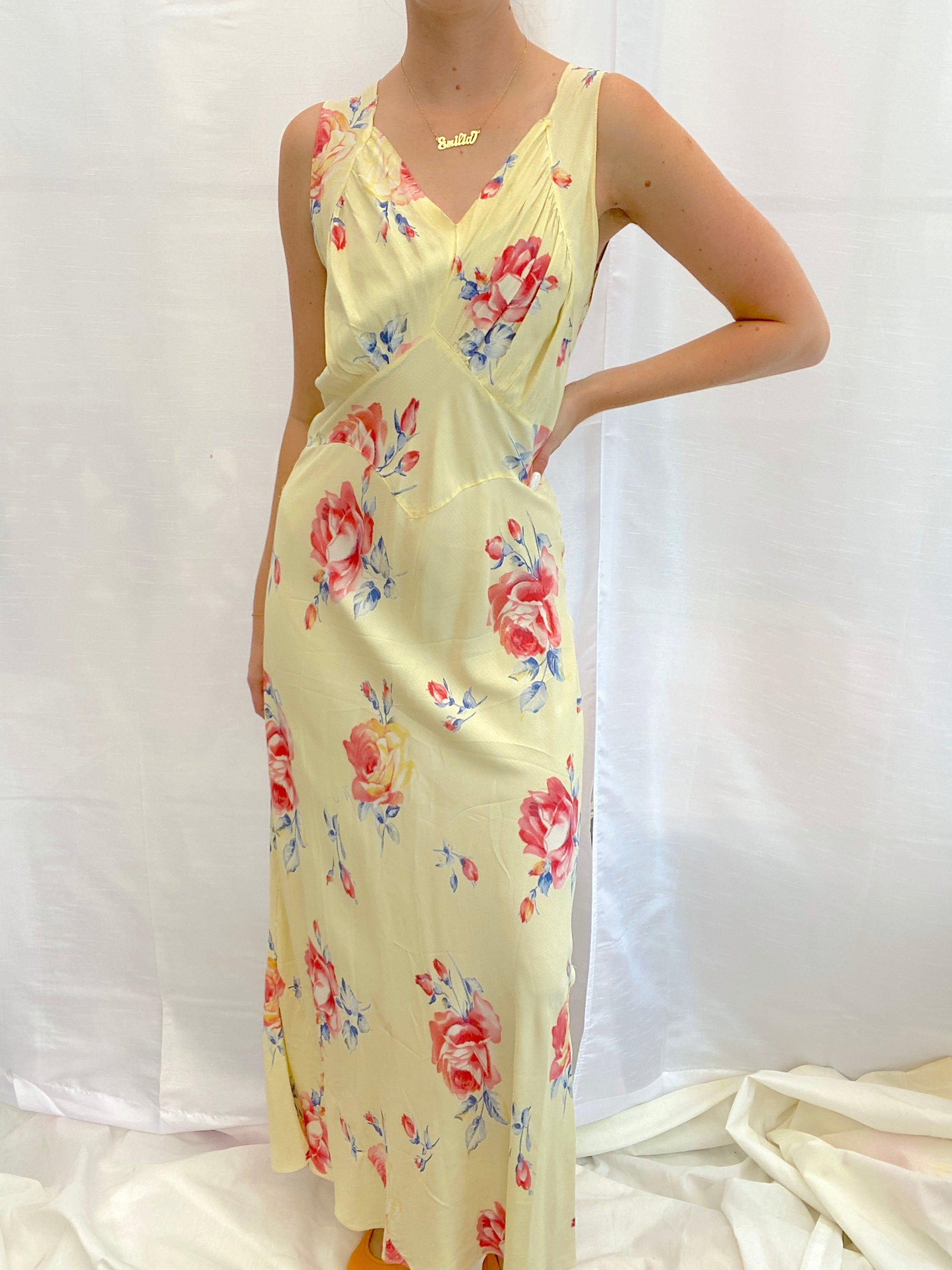 1930's Yellow Floral and Swiss Dot Print Slip