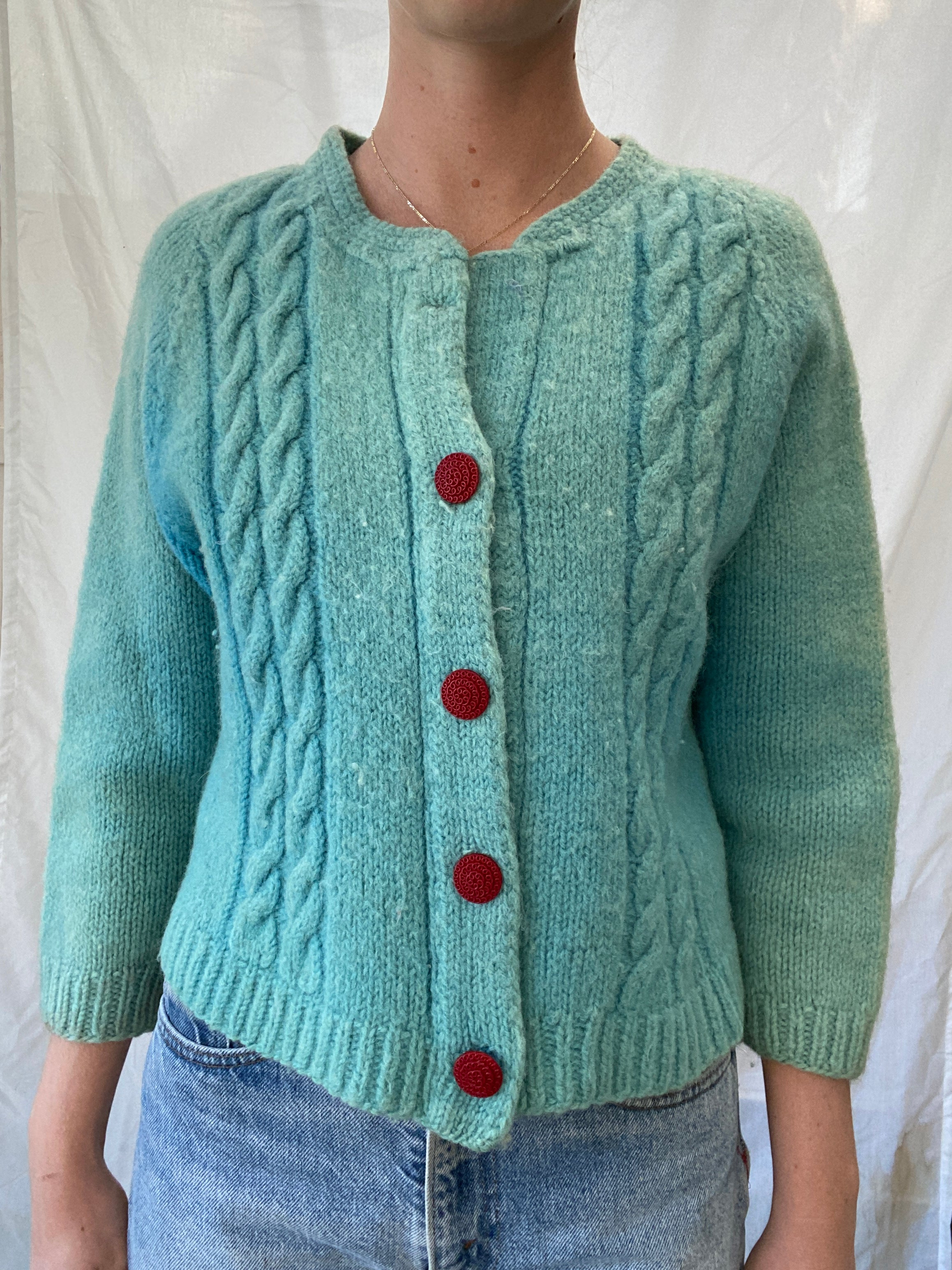 Ocean Blue Cardigan with Red Buttons