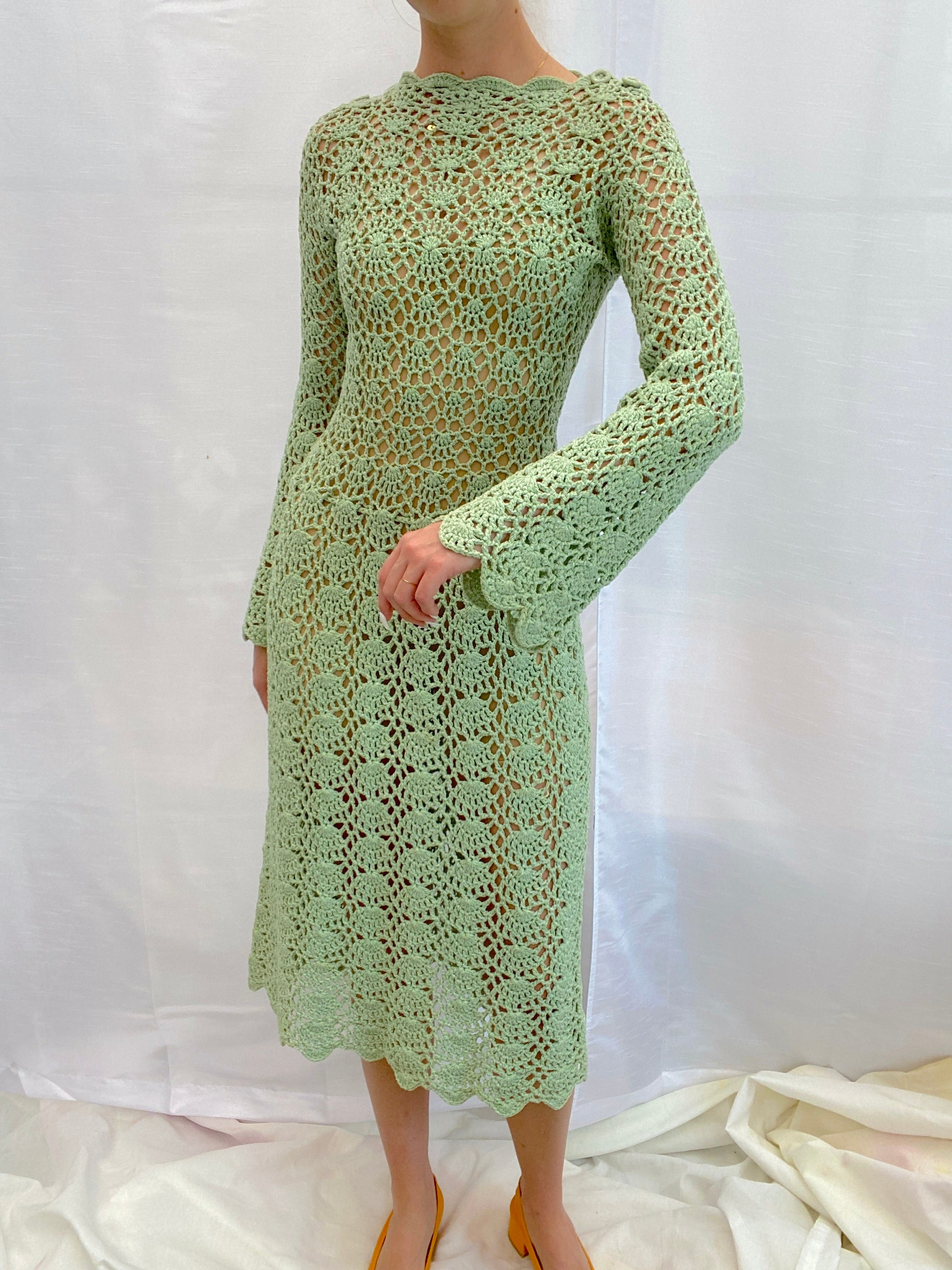 1970's Green Crochet Dress