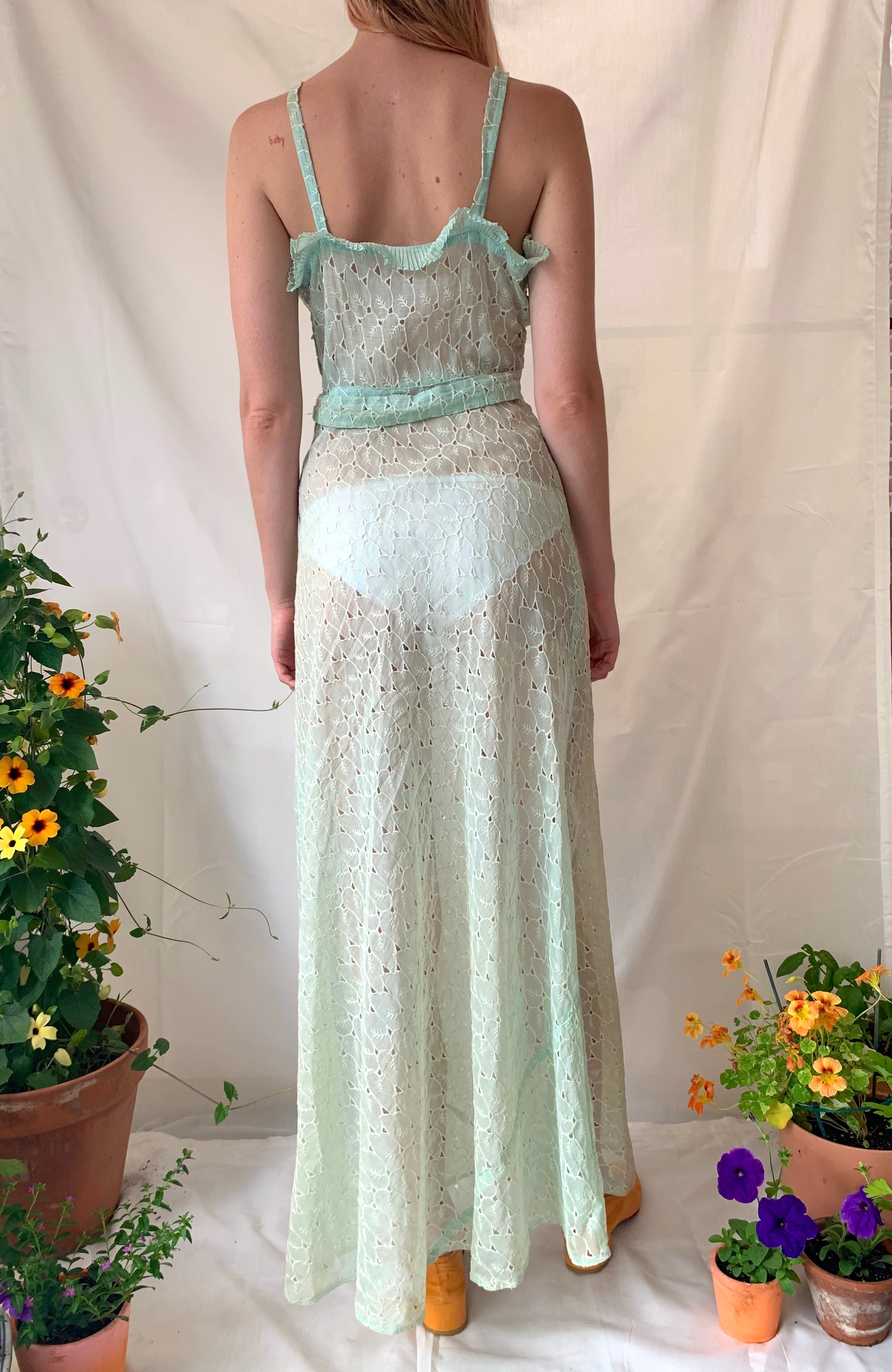 1930's Mint Green Leaf Open Work Embroidered Leaf Dress with Matching Bolero