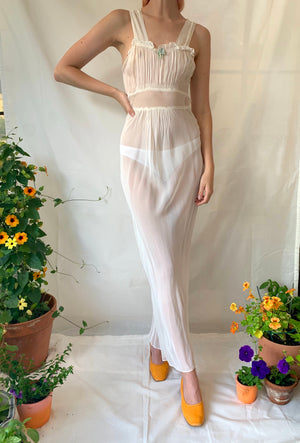 1930's White  Lightweight Slip with Ruched Bust