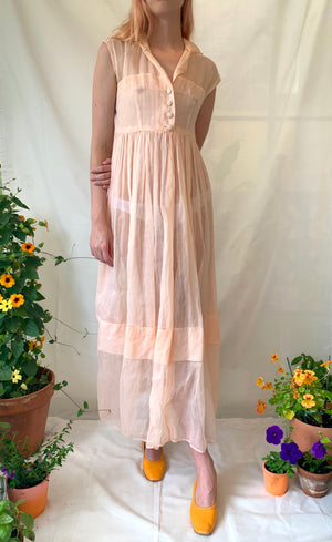 Peach Sleeveless Collared Dress