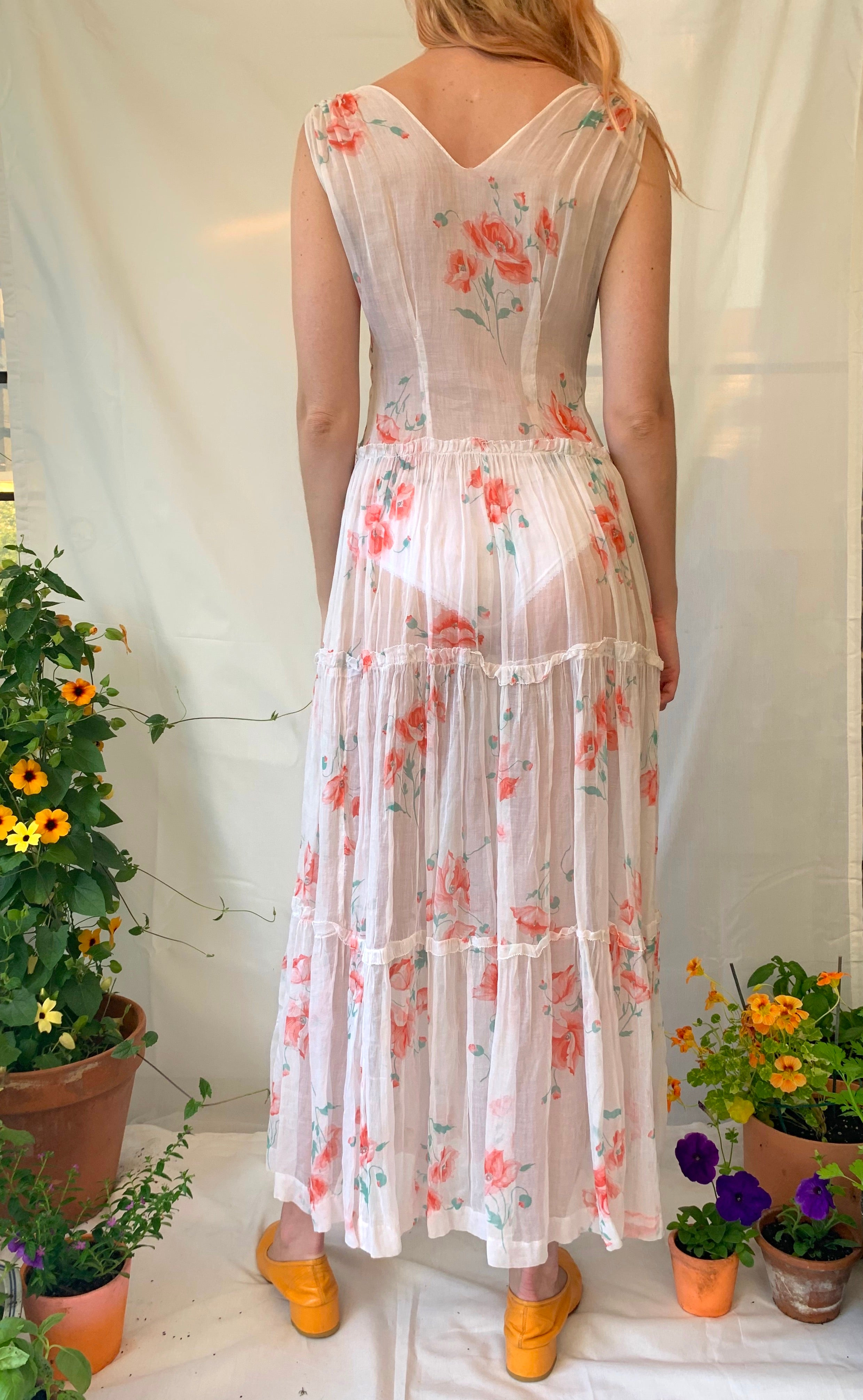 White Organza with Poppy Print Summer Dress