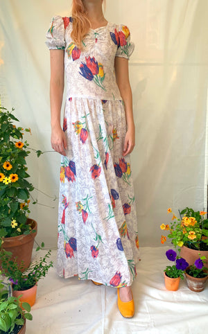 Tulip Print Voile Garden Party Dress