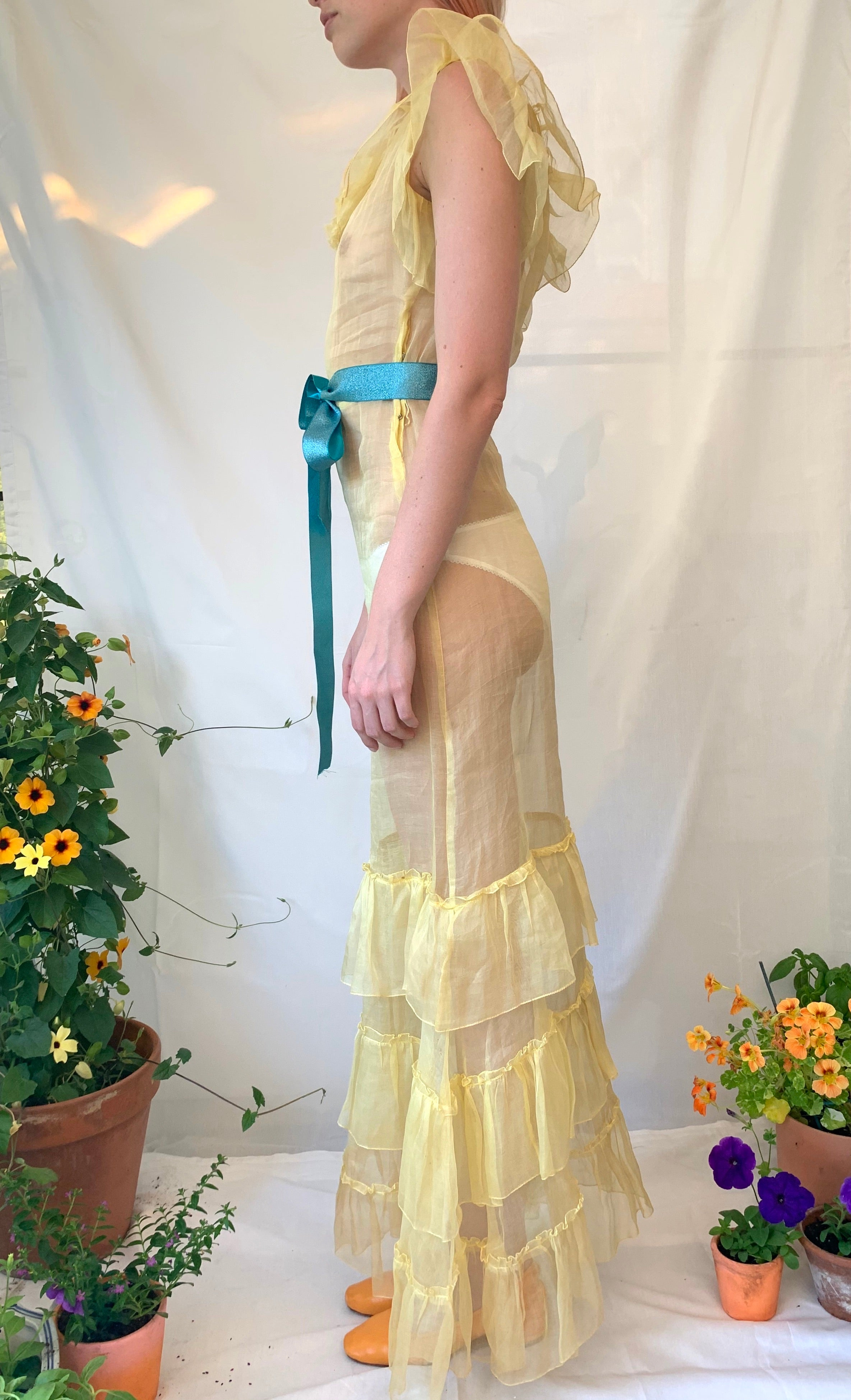 1930's Yellow Organza Dress
