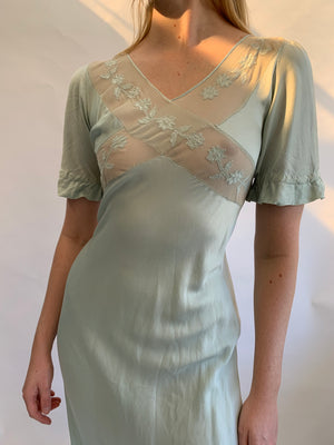 Seafoam Short Sleeve Silk Dress with Chiffon Cross Chest Detail