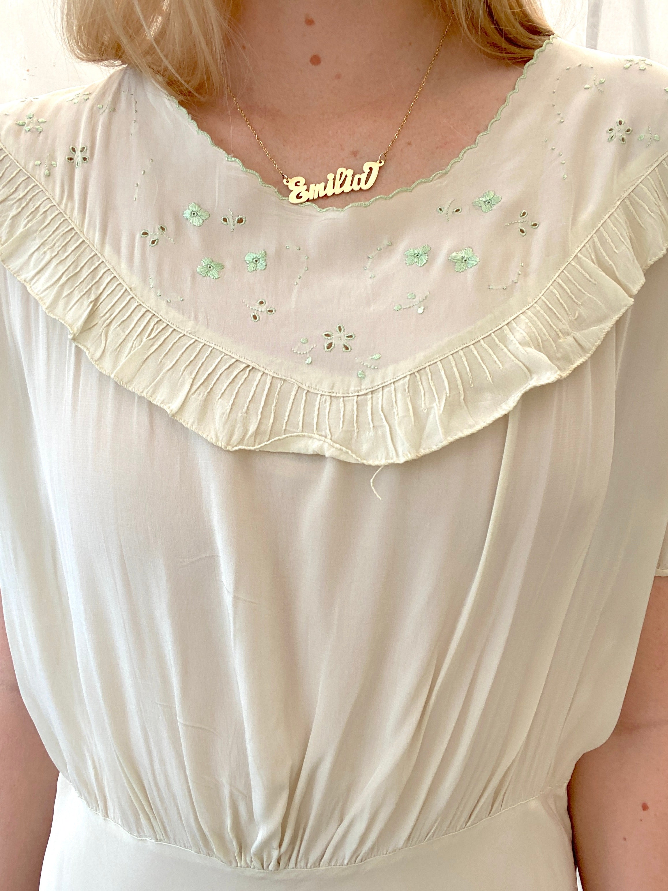 1930's Beige Silk Slip with Green Floral Embroidery