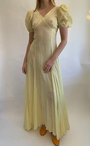1930's Yellow Lightweight Silk Cloque Dress with Puffed Sleeves