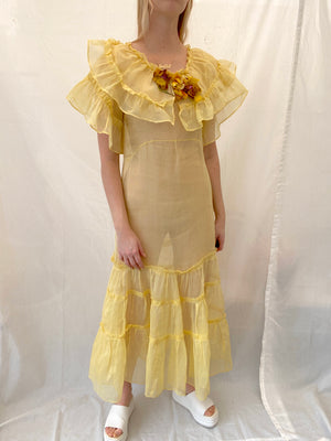 1930's Yellow Organza Dress with Dramatic Ruffles