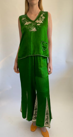 1920's Deep Emerald Green Silk Embroidered Pajama Set