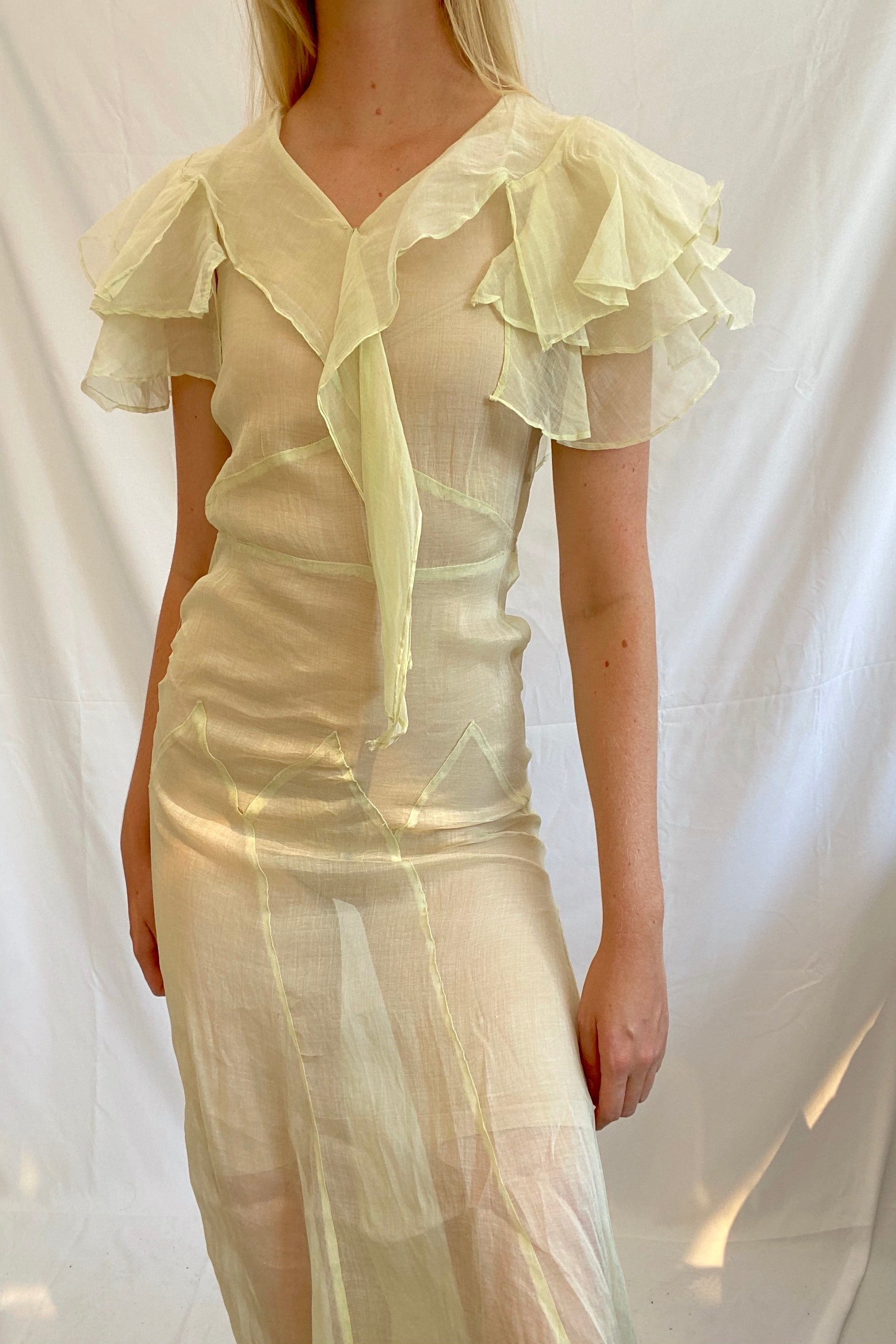 Light Green Organza Dress with Ruffles