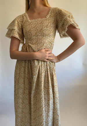 Laura Ashley Cream and Brown Floral Print Dress
