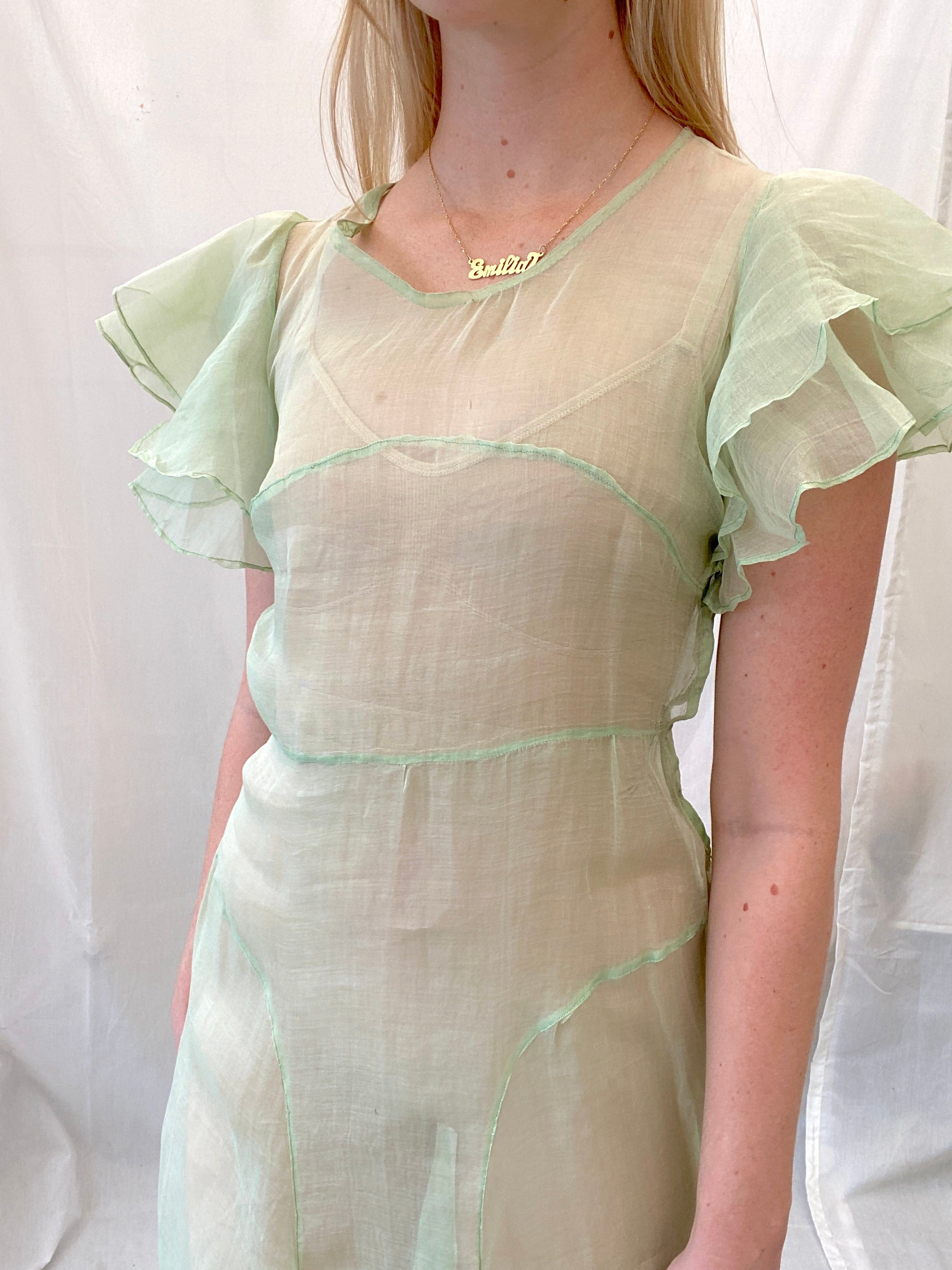 1930's Pale Green Cotton Organza Dress with Ruffle Sleeve