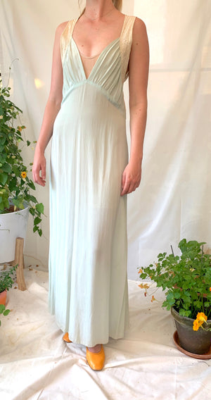 Aqua Silk Slip with Lace Trimmed Straps